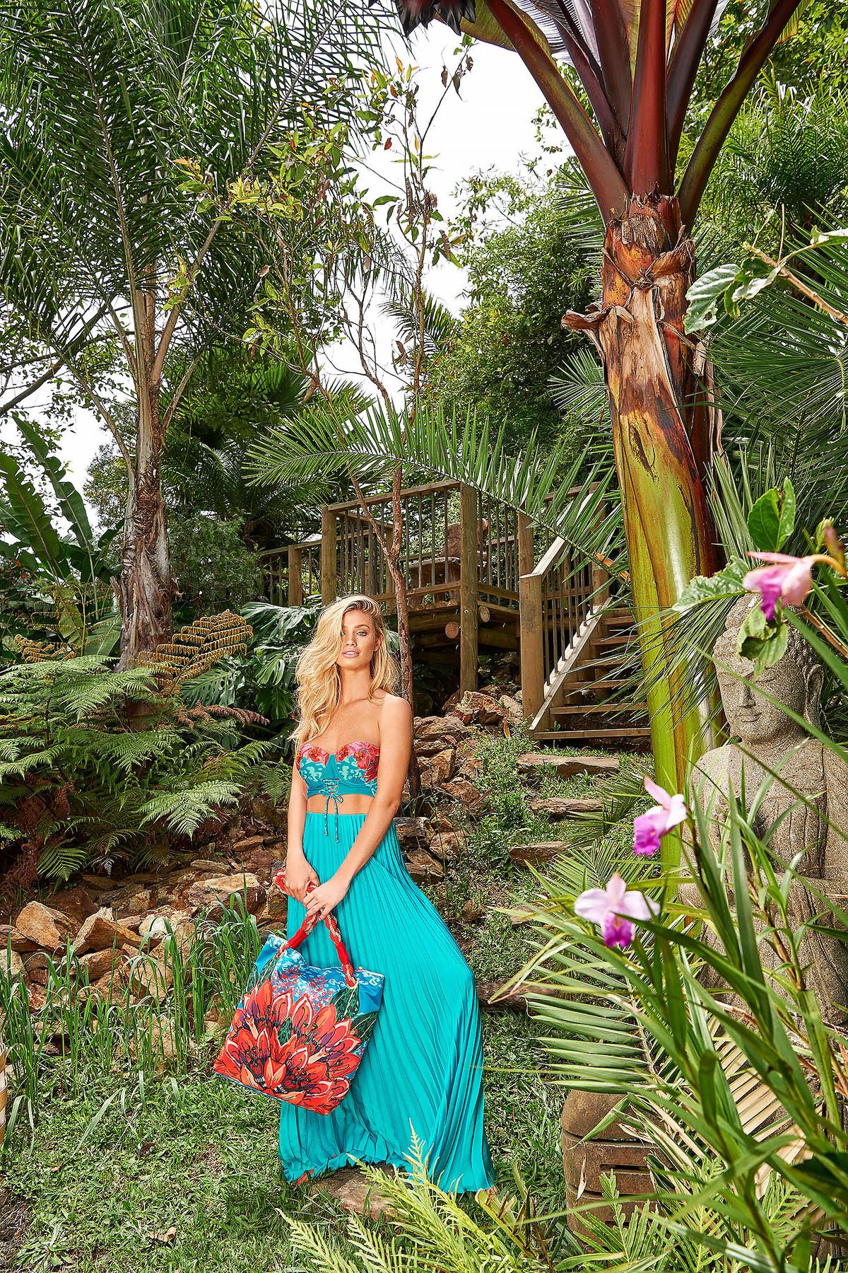 Geanta dama Cosita Linda rosie de plaja cu imprimeuri florale doua manere de lungime medie