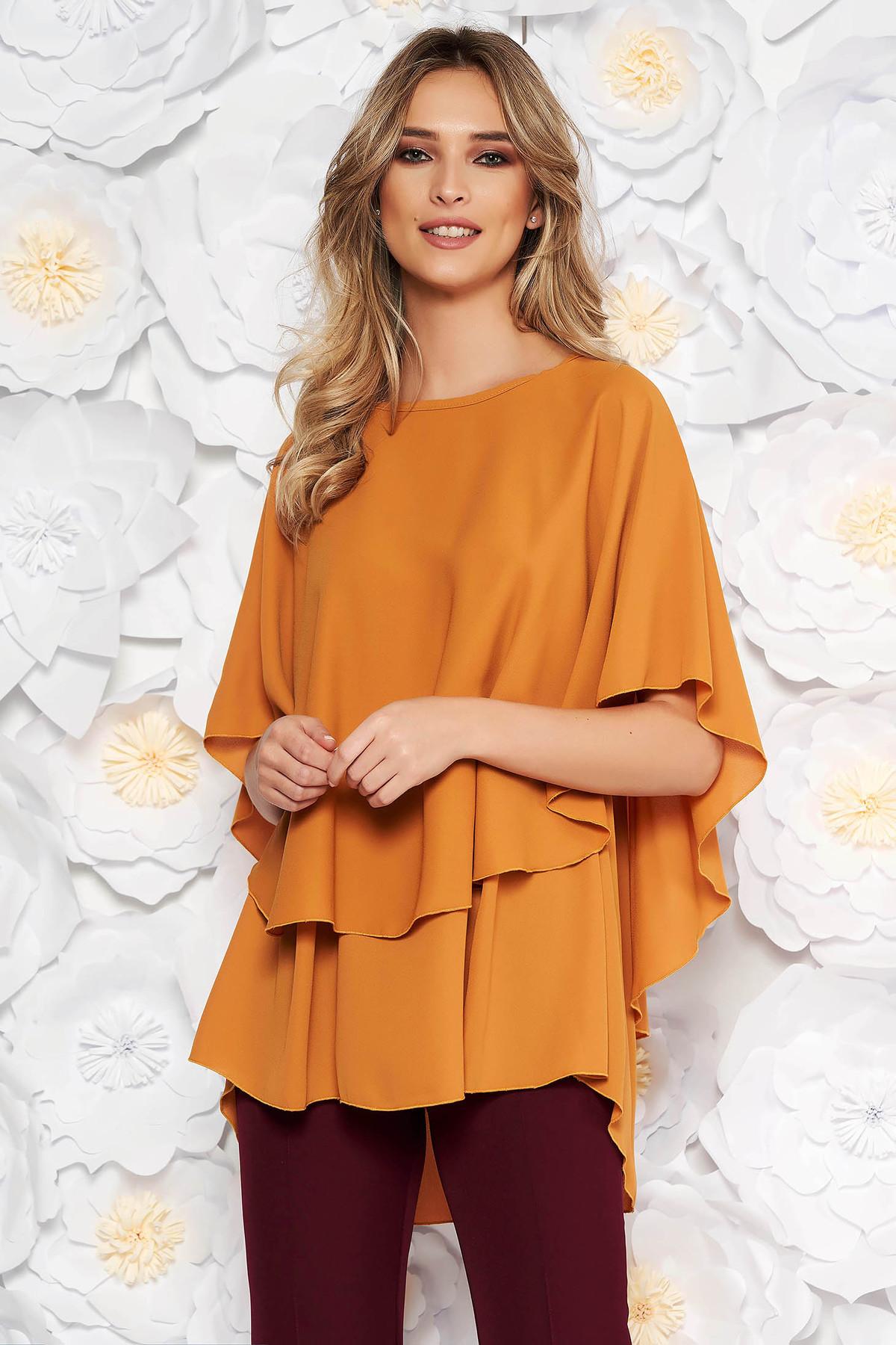 Bluza dama caramizie eleganta asimetrica cu croi larg din voal