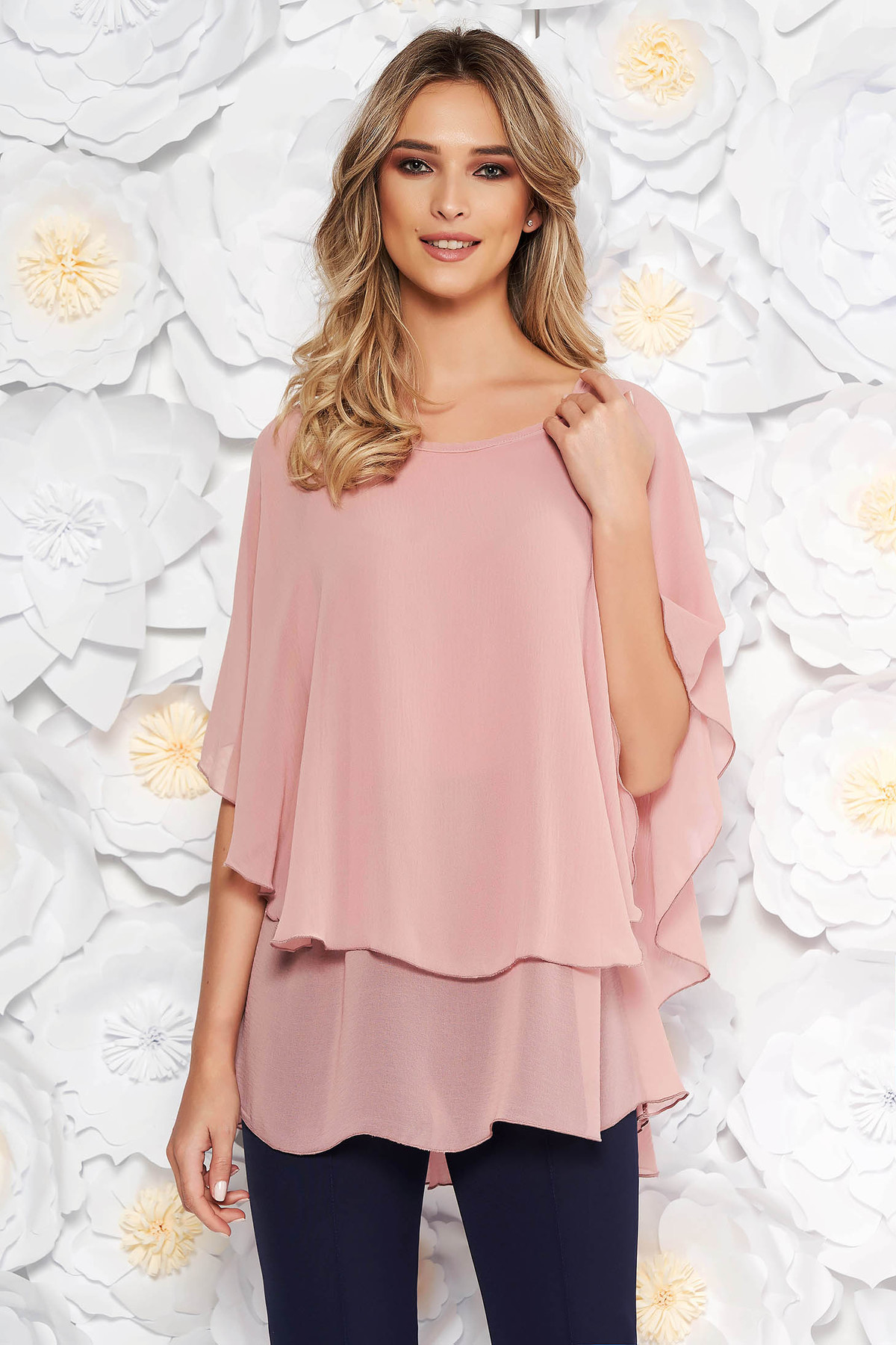 Bluza dama rosa eleganta asimetrica cu croi larg din voal