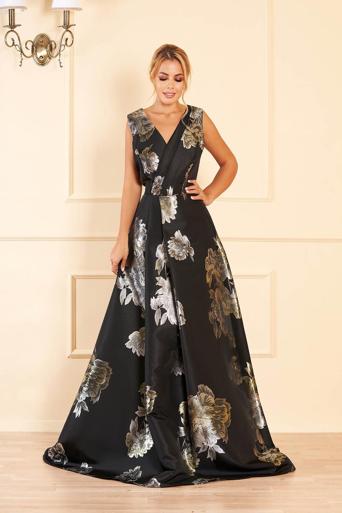 Rochie Artista neagra de ocazie in clos cu decolteu in v cu imprimeu floral
