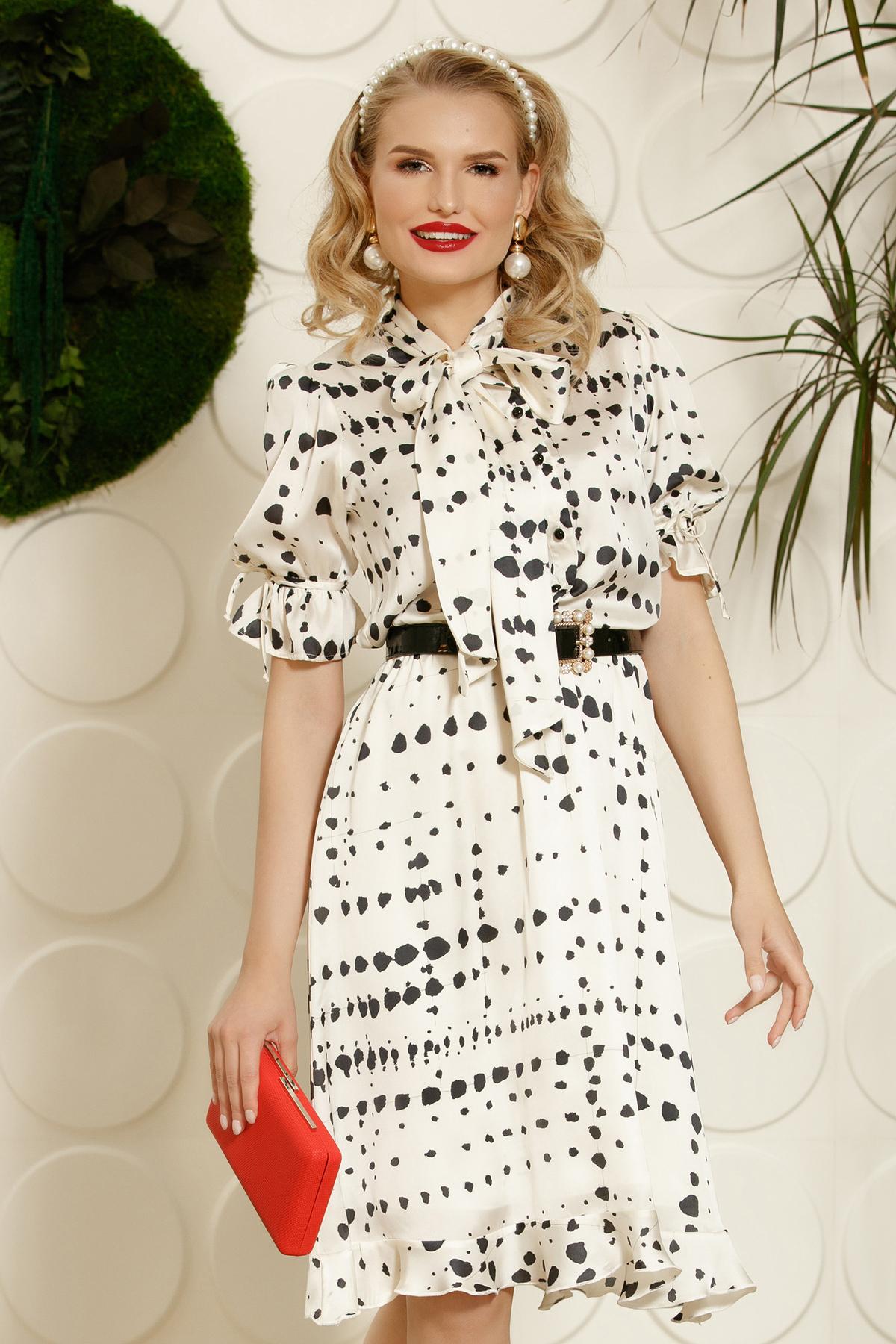 Rochie PrettyGirl alba eleganta de zi din material satinat croi in clos cu guler tip esarfa cu accesoriu tip curea