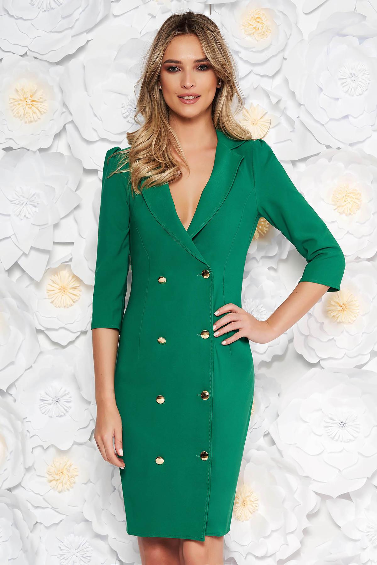 Rochie Artista verde de zi din stofa usor elastica cu maneci trei-sferturi cu decolteu in v