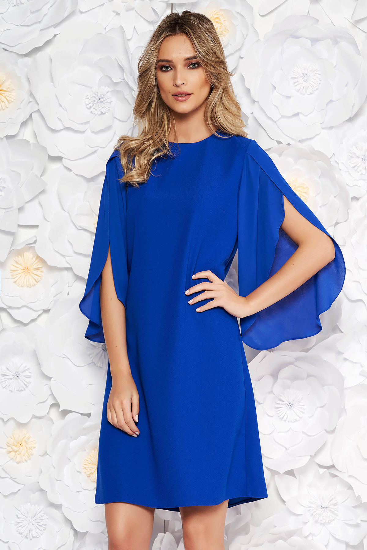 Rochie albastra eleganta cu croi larg cu maneca 3/4 transparente