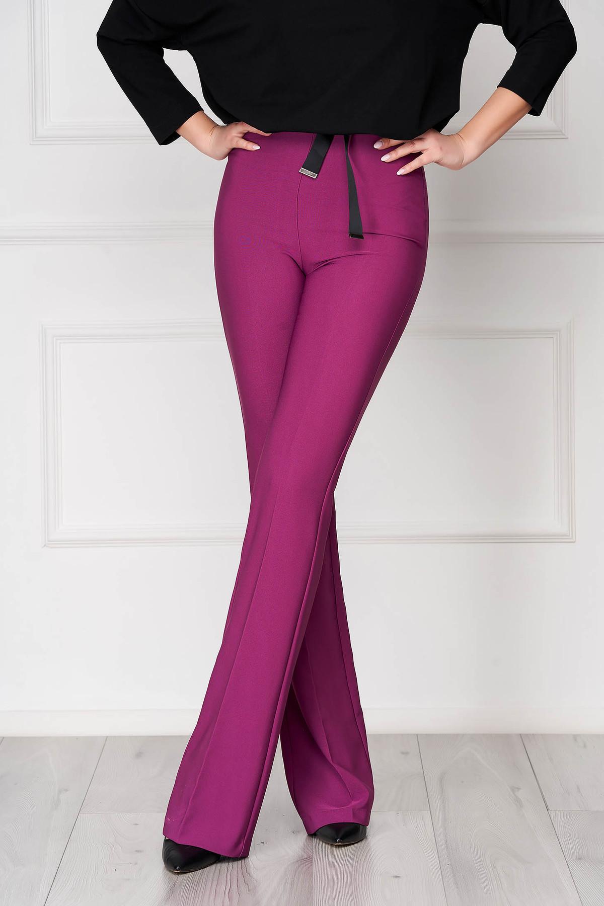 Pantaloni PrettyGirl mov eleganti evazati cu talie inalta din material neelastic