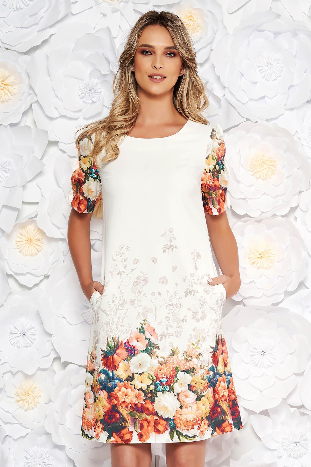 Rochie alba eleganta de zi scurta cu maneci scurte accesorizata cu fundite cu buzunare