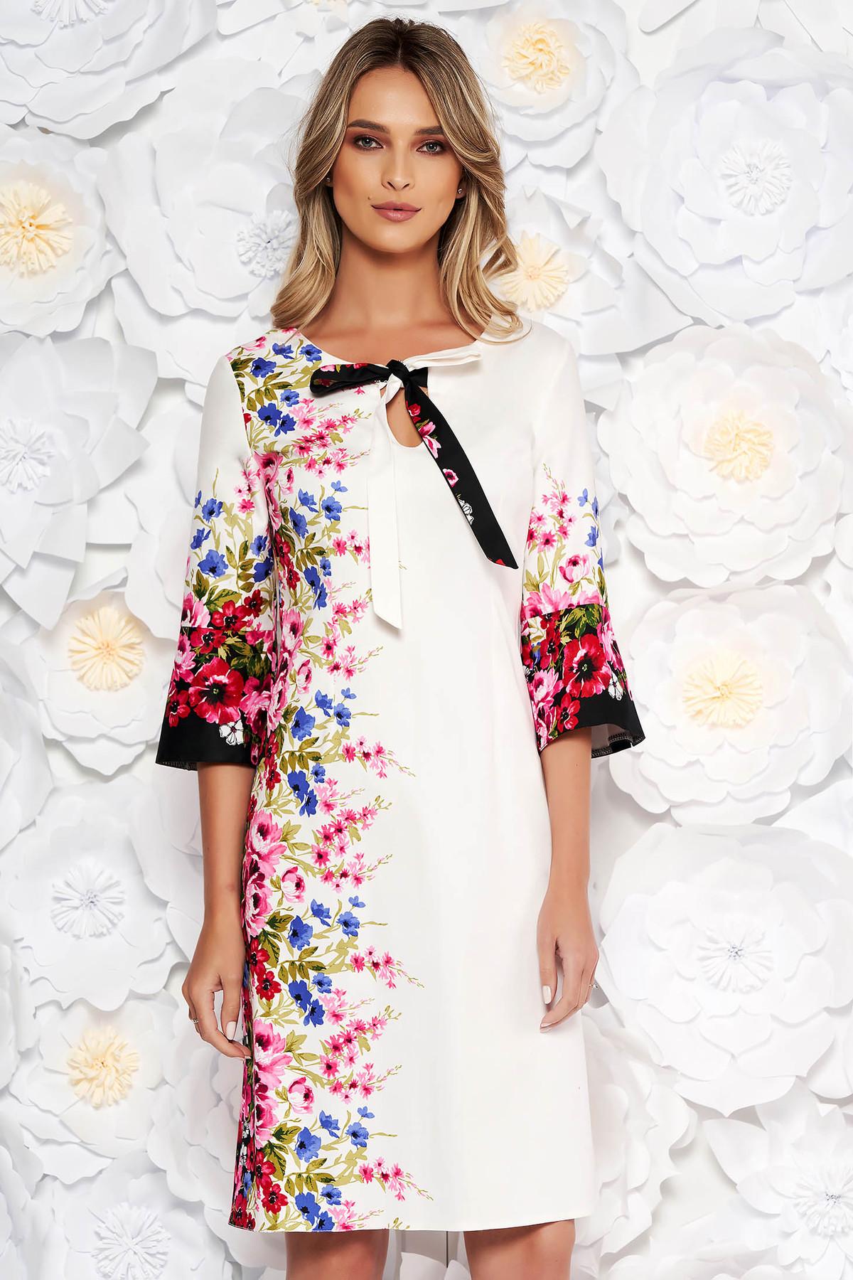 Rochie alba de zi cu croi in a din bumbac cu imprimeu floral cu maneci trei-sferturi