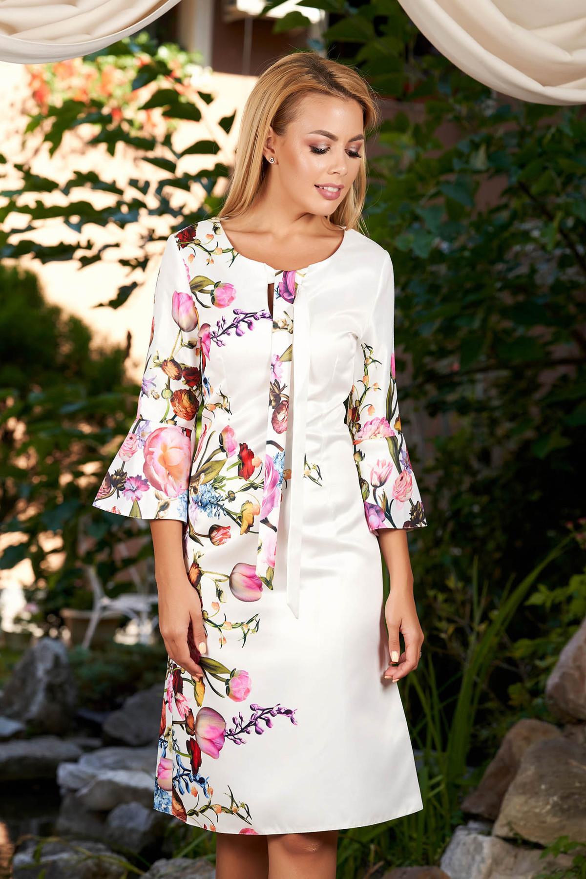 Rochie alba de zi cu maneca 3/4 cu croi in a din bumbac satinat neelastic cu imprimeuri florale