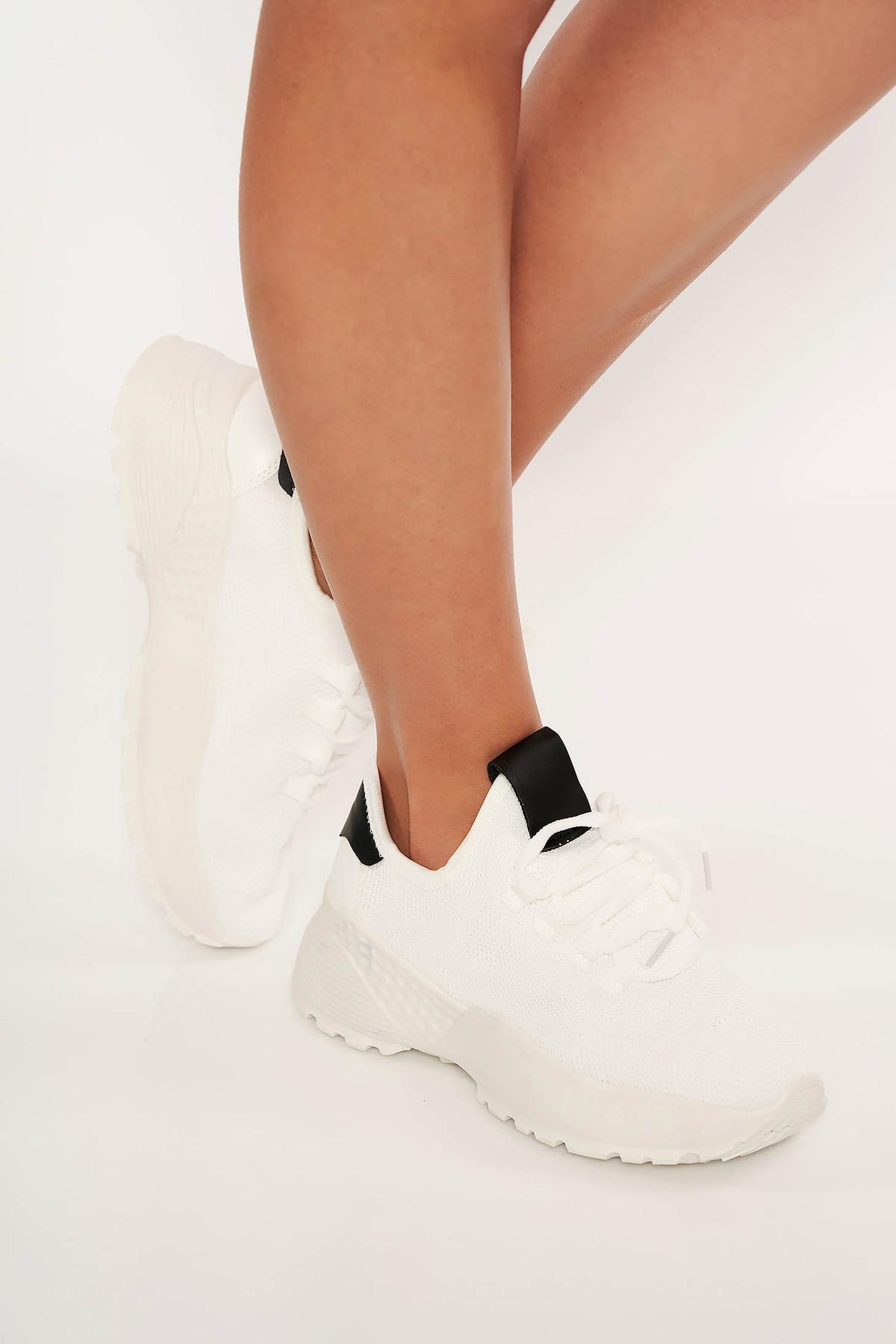 Pantofi sport alb din casual din panza cu siret