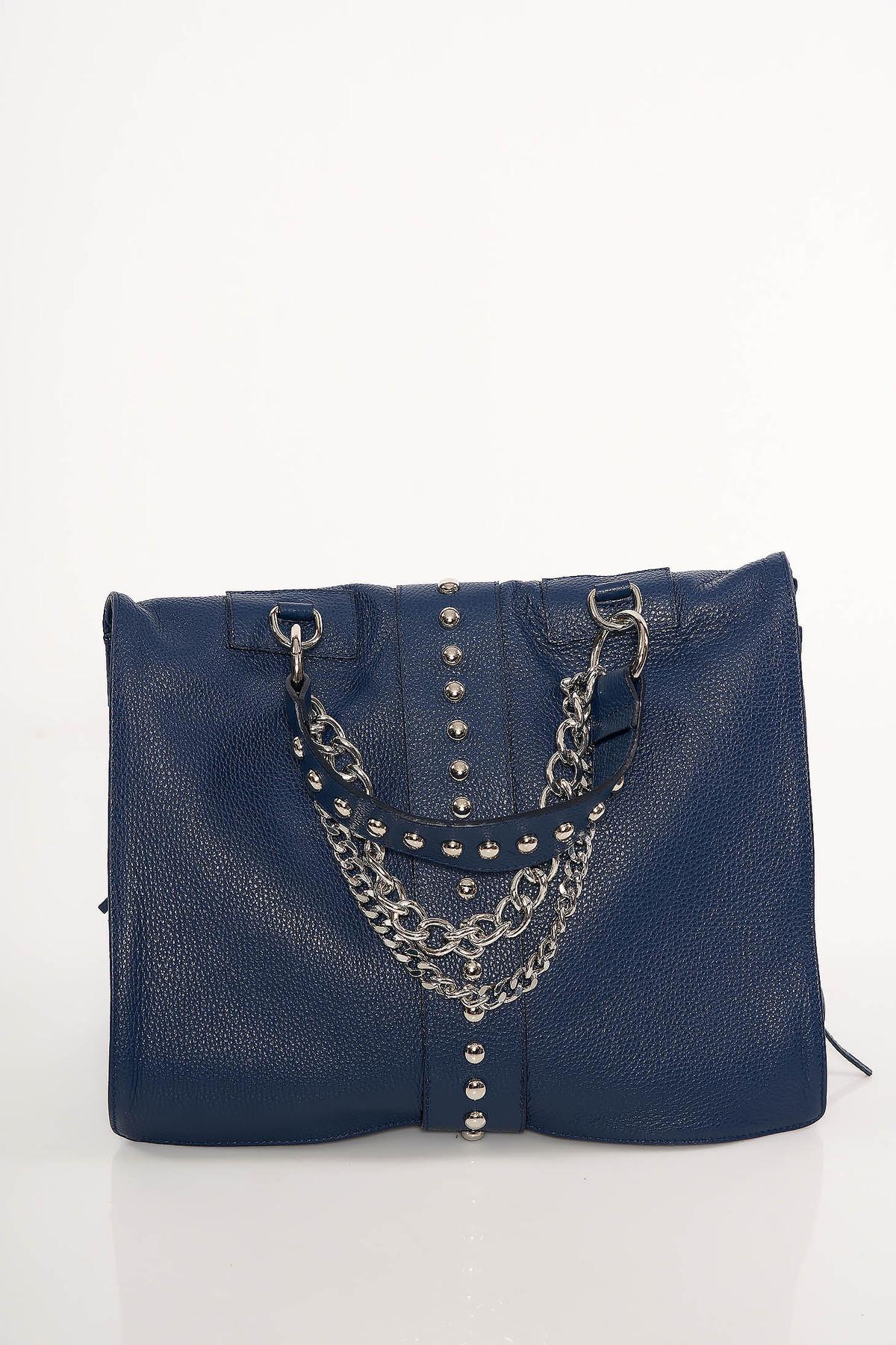 Geanta dama albastru-inchis casual cu tinte metalice