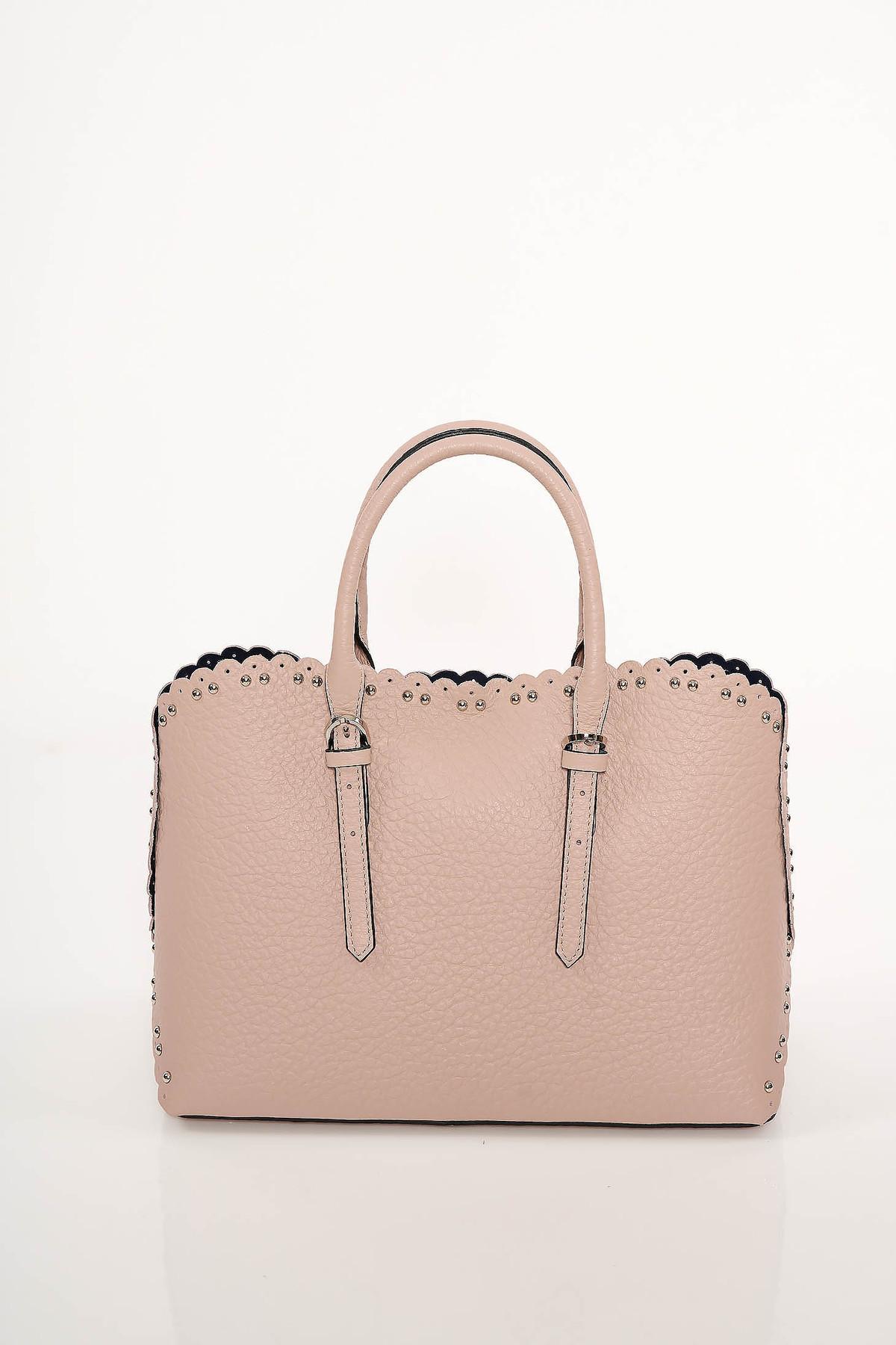 Geanta dama roz prafuit office din piele naturala cu tinte metalice cu manere scurte