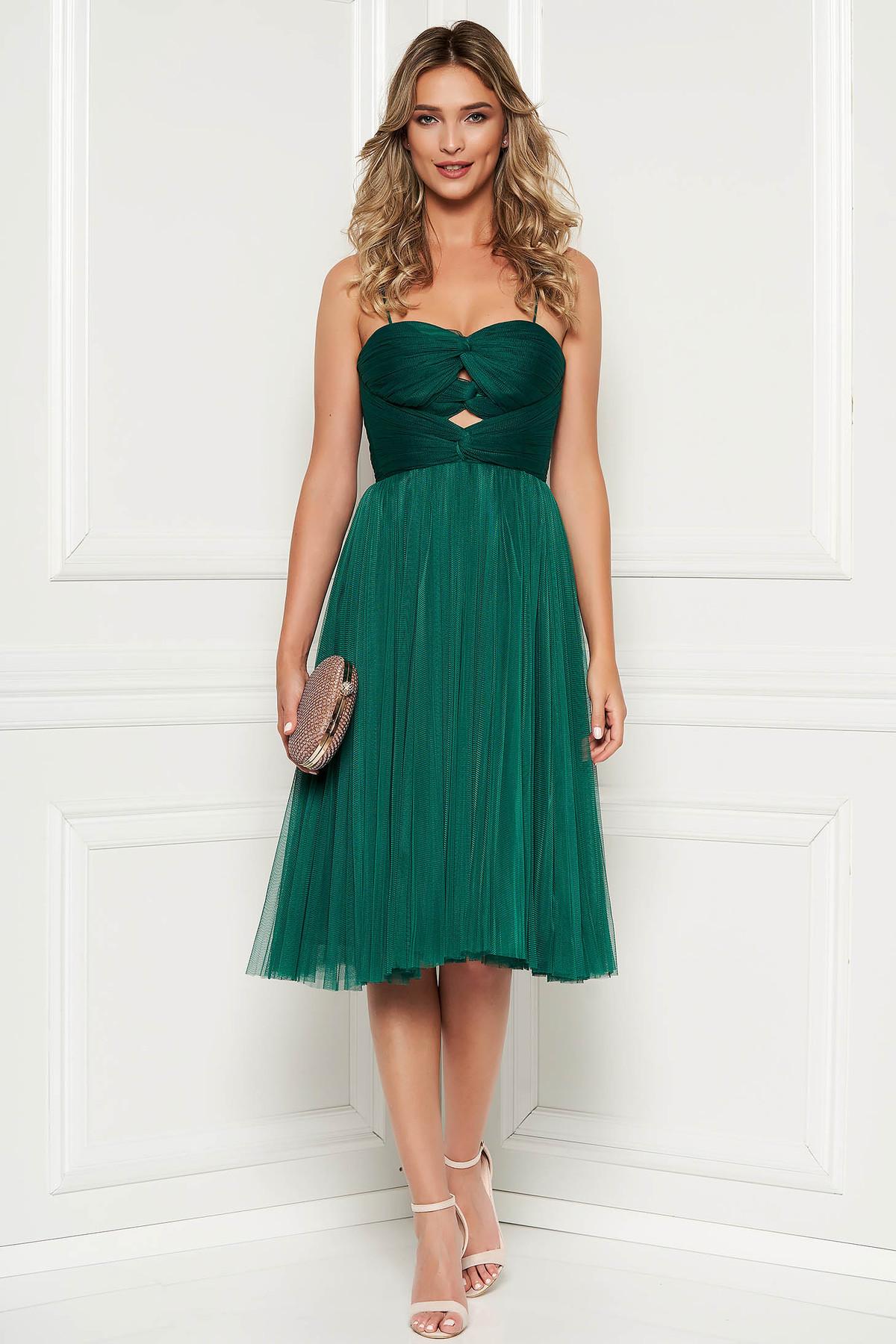 Rochie Ana Radu verde de ocazie tip corset din tul captusita pe interior