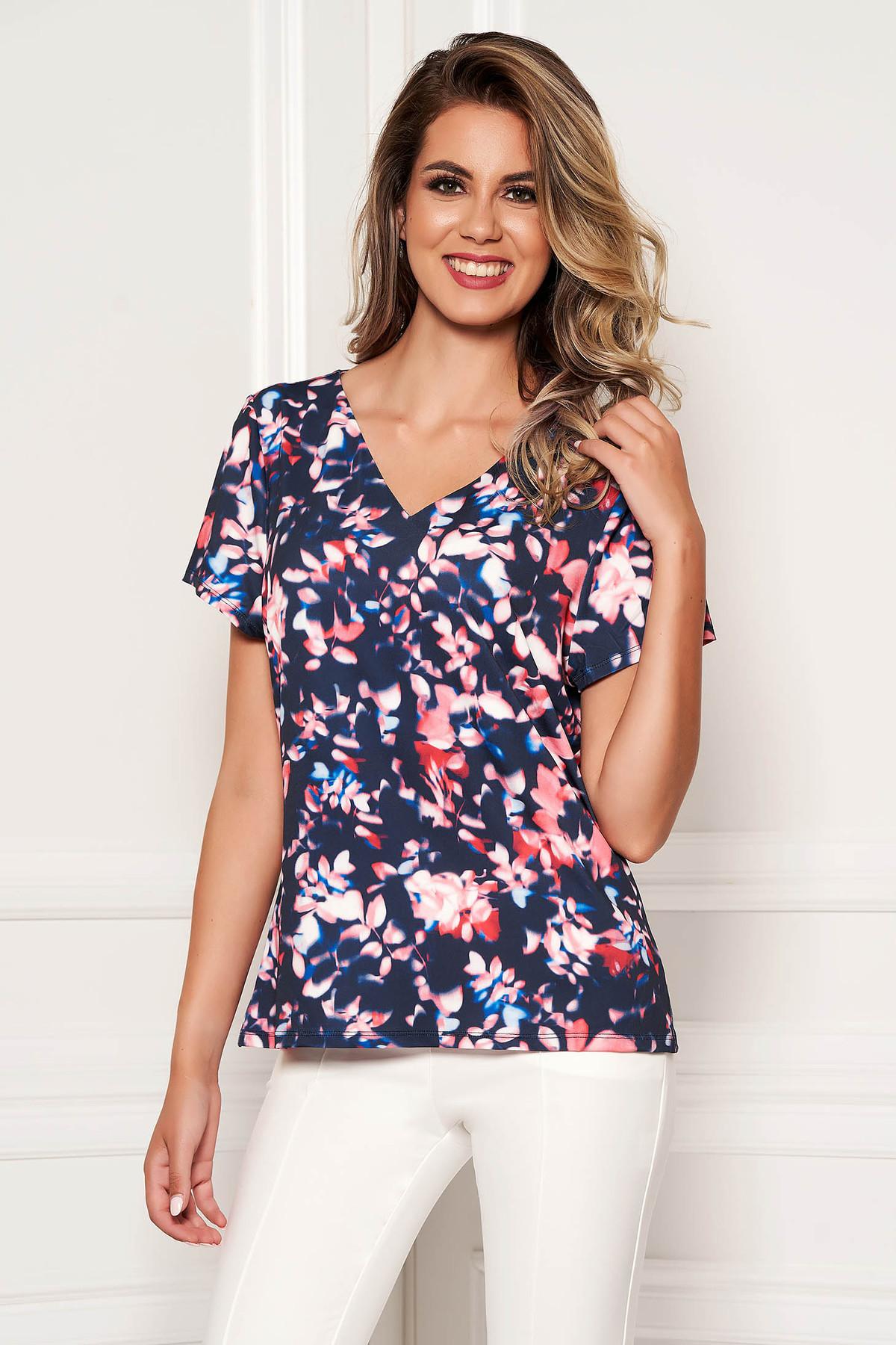 Bluza dama albastru-inchis SunShine cu imprimeuri florale si cu maneca scurta