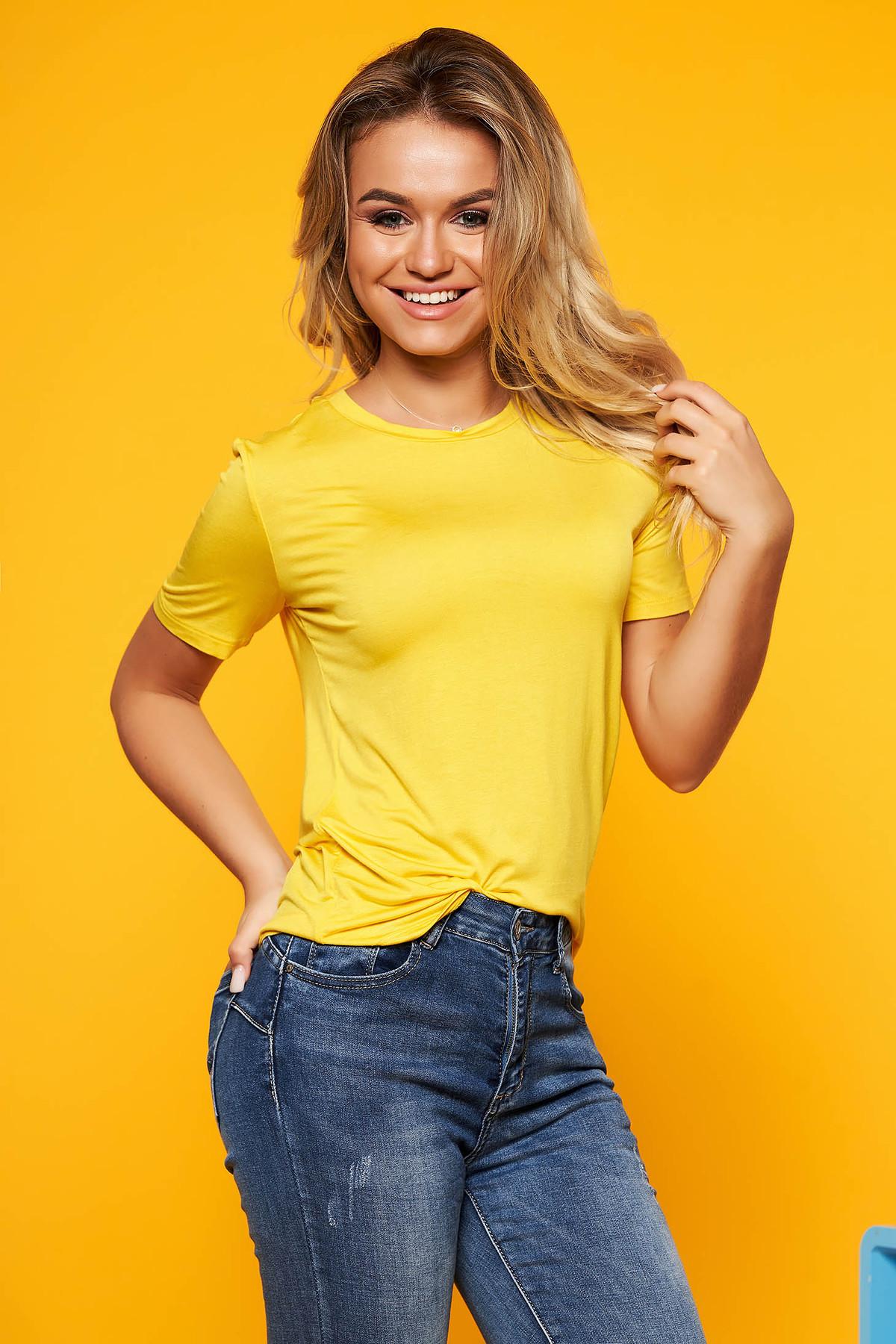 Tricou SunShine galben casual cu maneca scurta cu croi larg