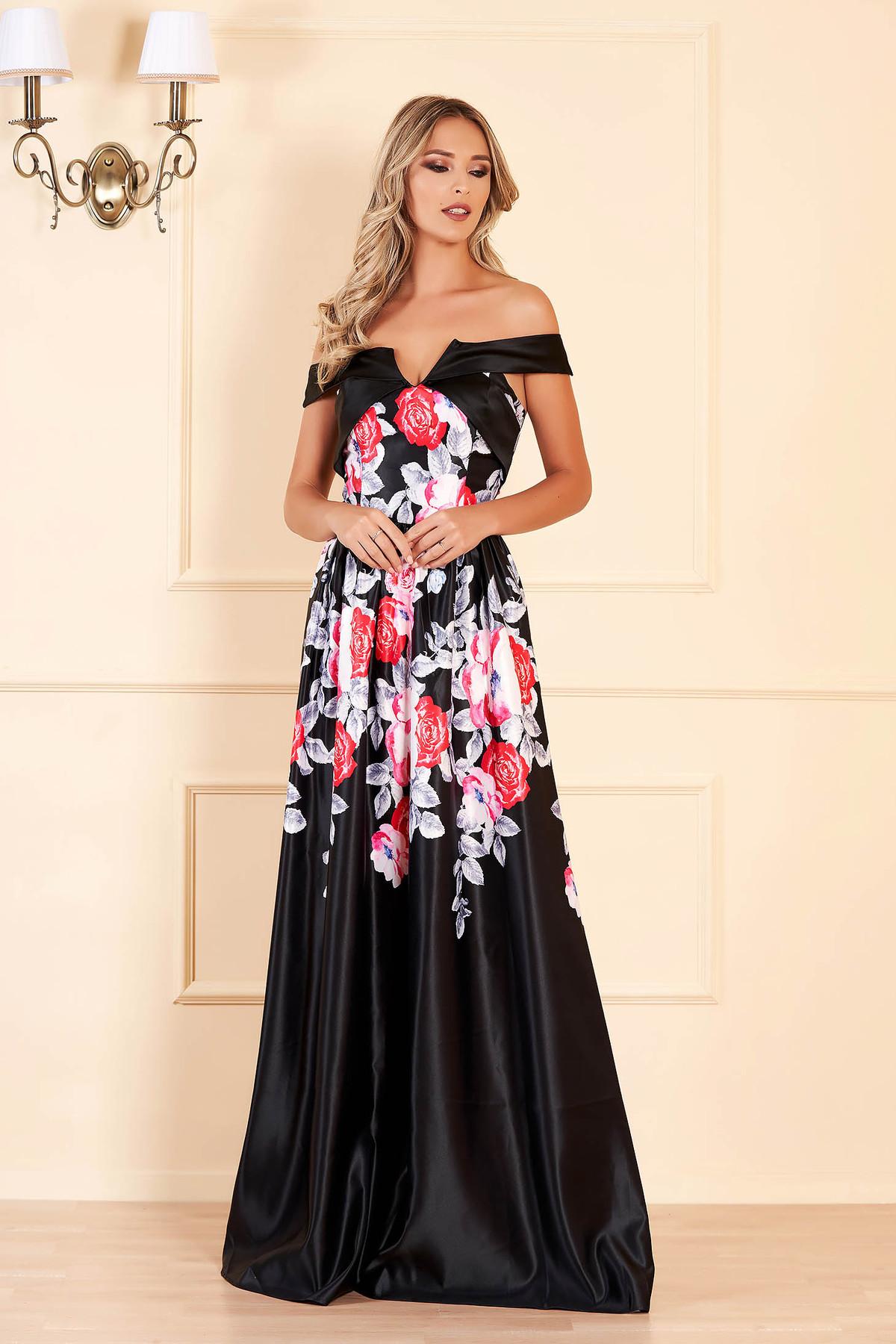 Rochie Artista neagra lunga de seara cu decolteu adanc si imprimeuri florale Artista