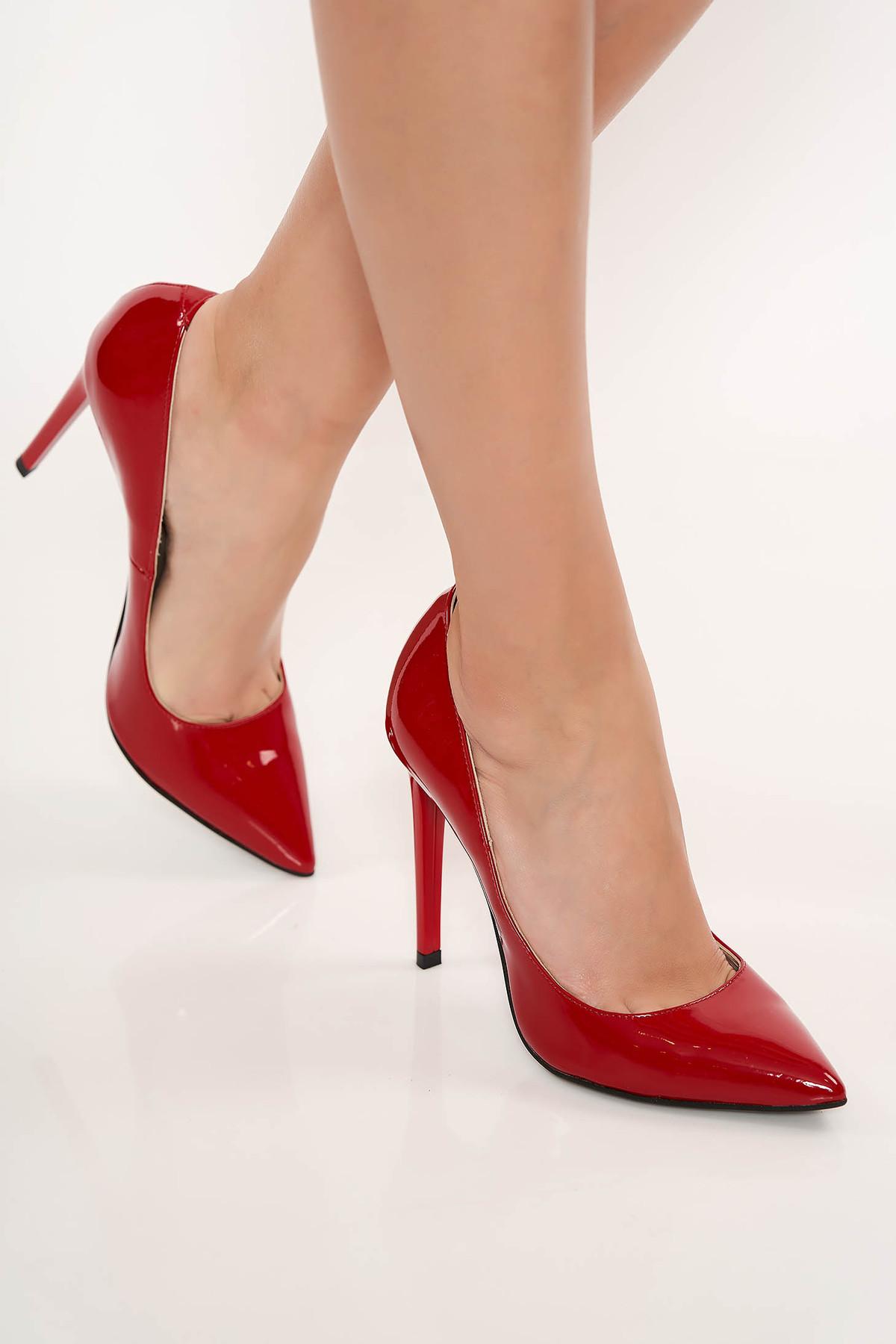 Pantofi rosu stiletto elegant din piele naturala cu toc inalt