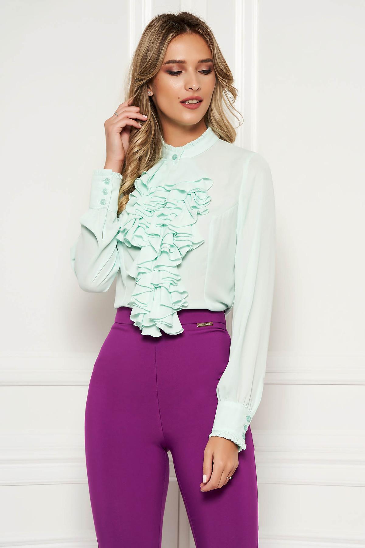 Bluza dama StarShinerS mint office cu volanase din material vaporos si transparent guler inalt