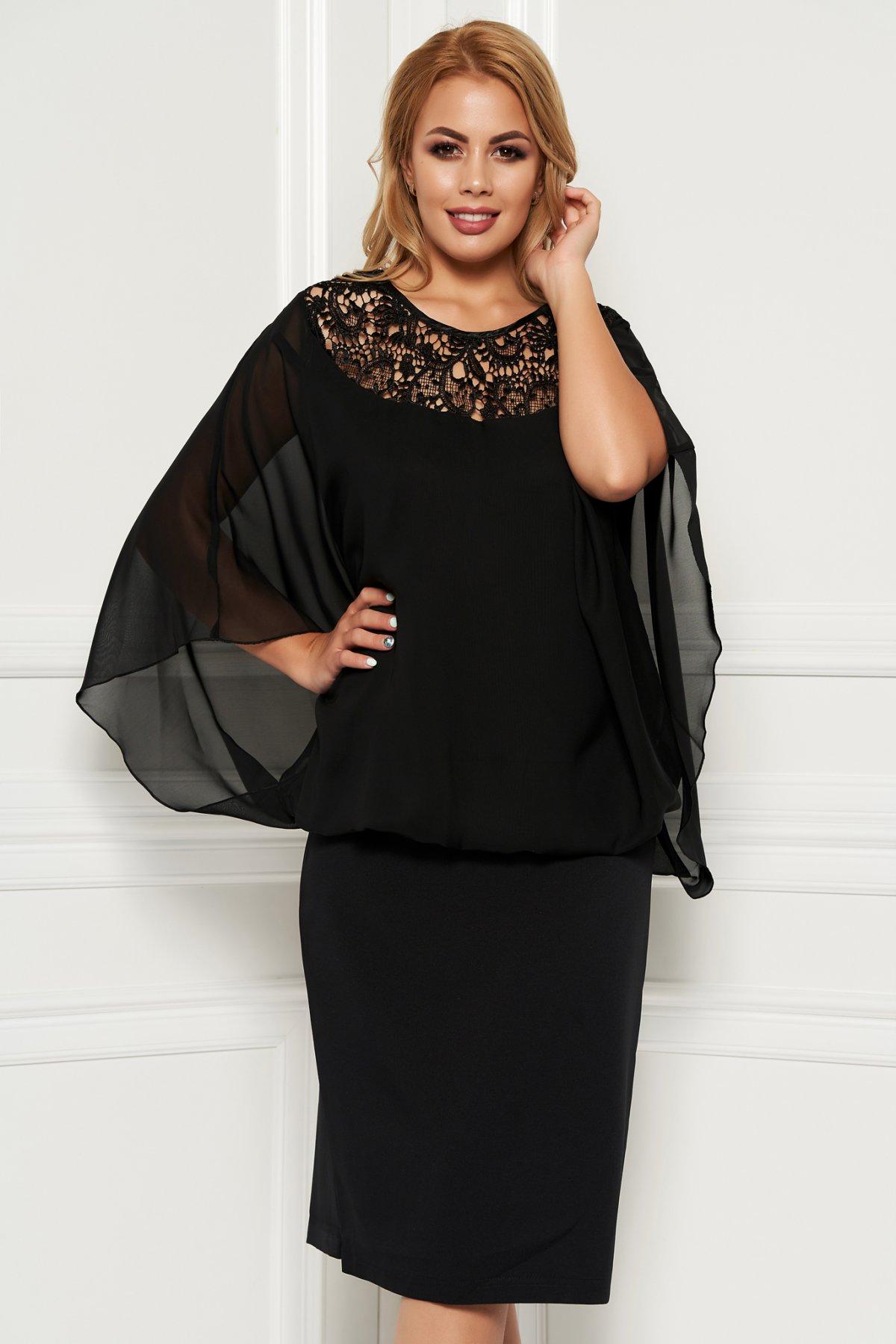 Rochie neagra de ocazie midi din stofa neelastica subtire cu suprapunere cu voal