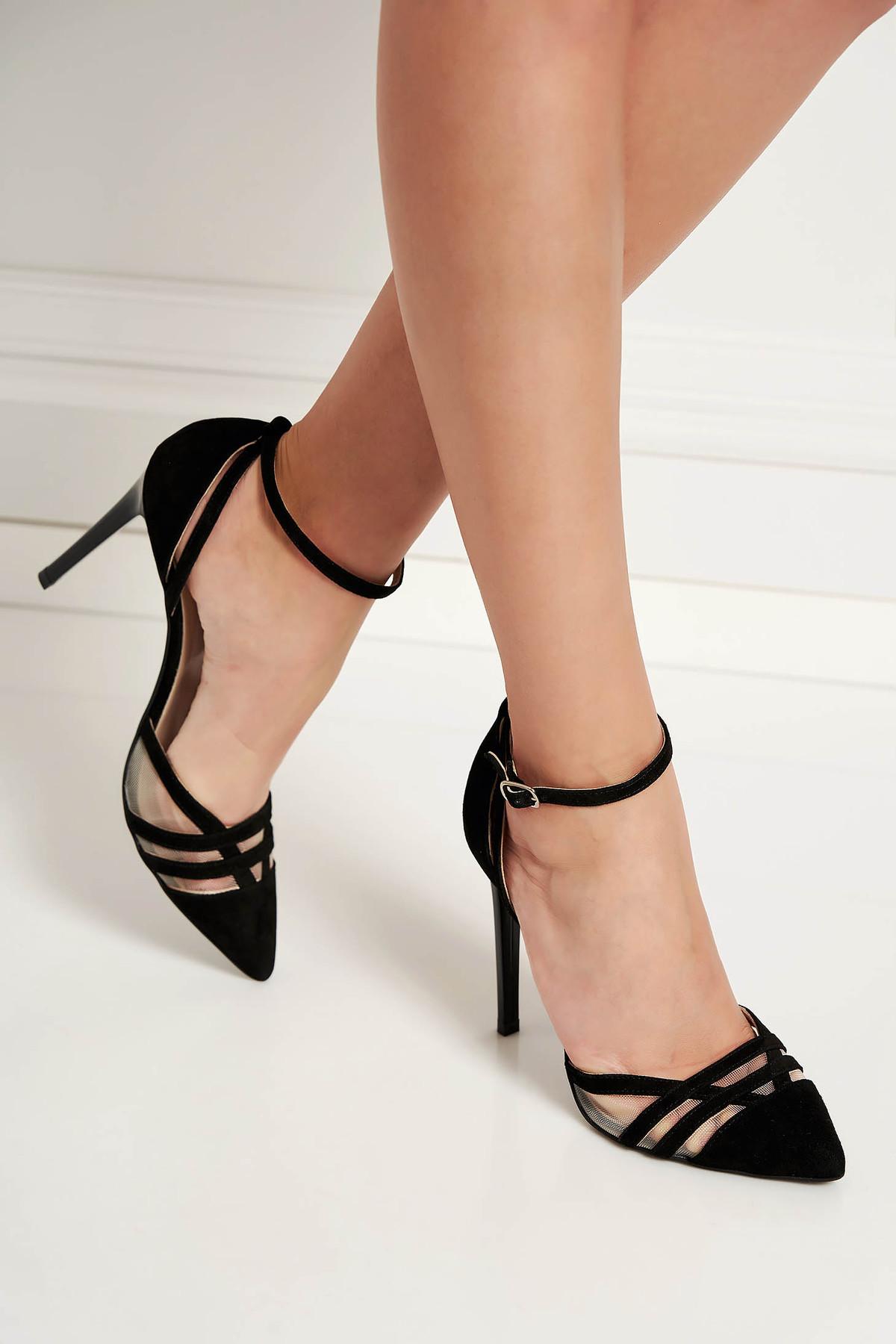 Pantofi negri eleganti din piele naturala cu barete subtiri cu toc inalt