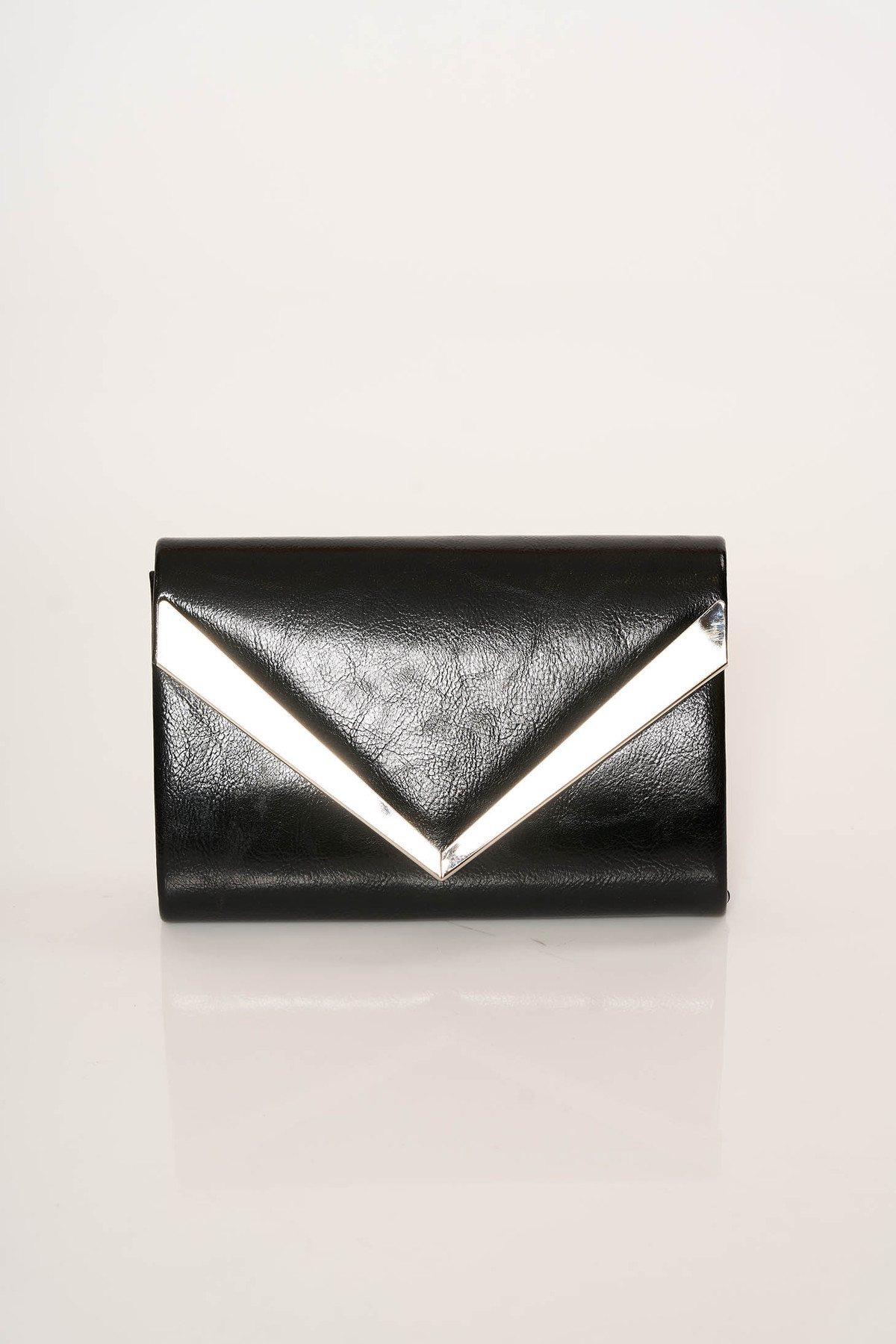 Geanta dama neagra eleganta plic din piele ecologica accesorizata cu lantisor