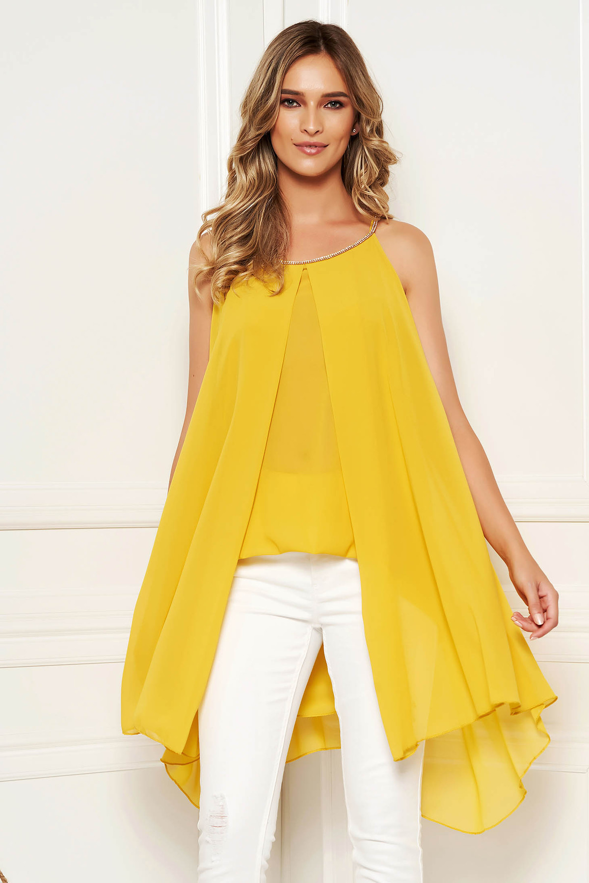 Bluza dama SunShine mustarie scurta de zi din voal suprapunere cu voal fara maneci