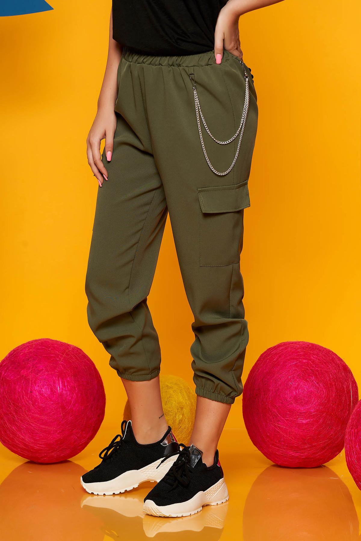 Pantaloni SunShine khaki casual 3/4 cu talie inalta buzunare laterale cu accesoriu inclus