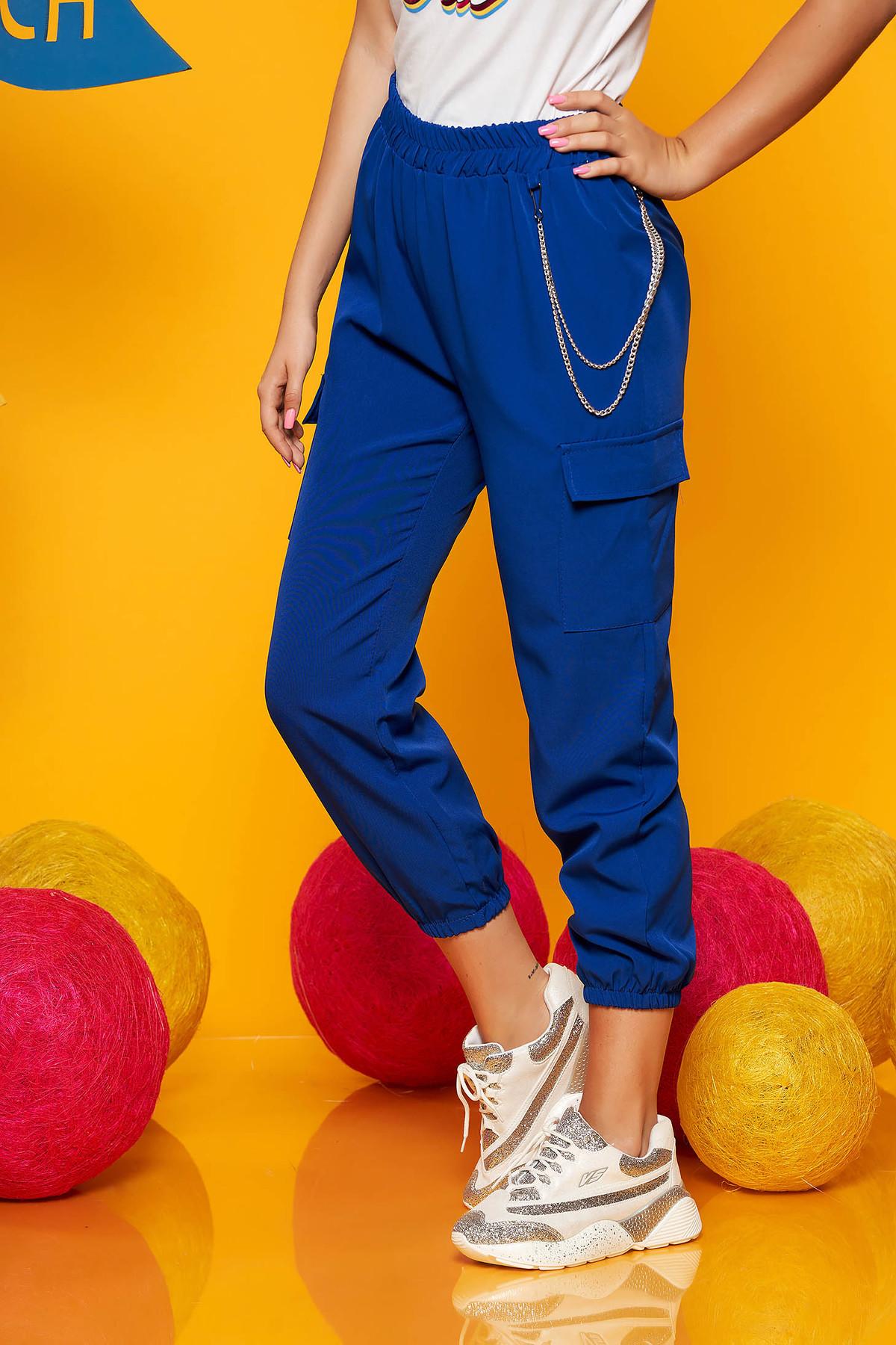 Pantaloni SunShine albastri casual 3/4 cu talie inalta buzunare laterale cu accesoriu inclus