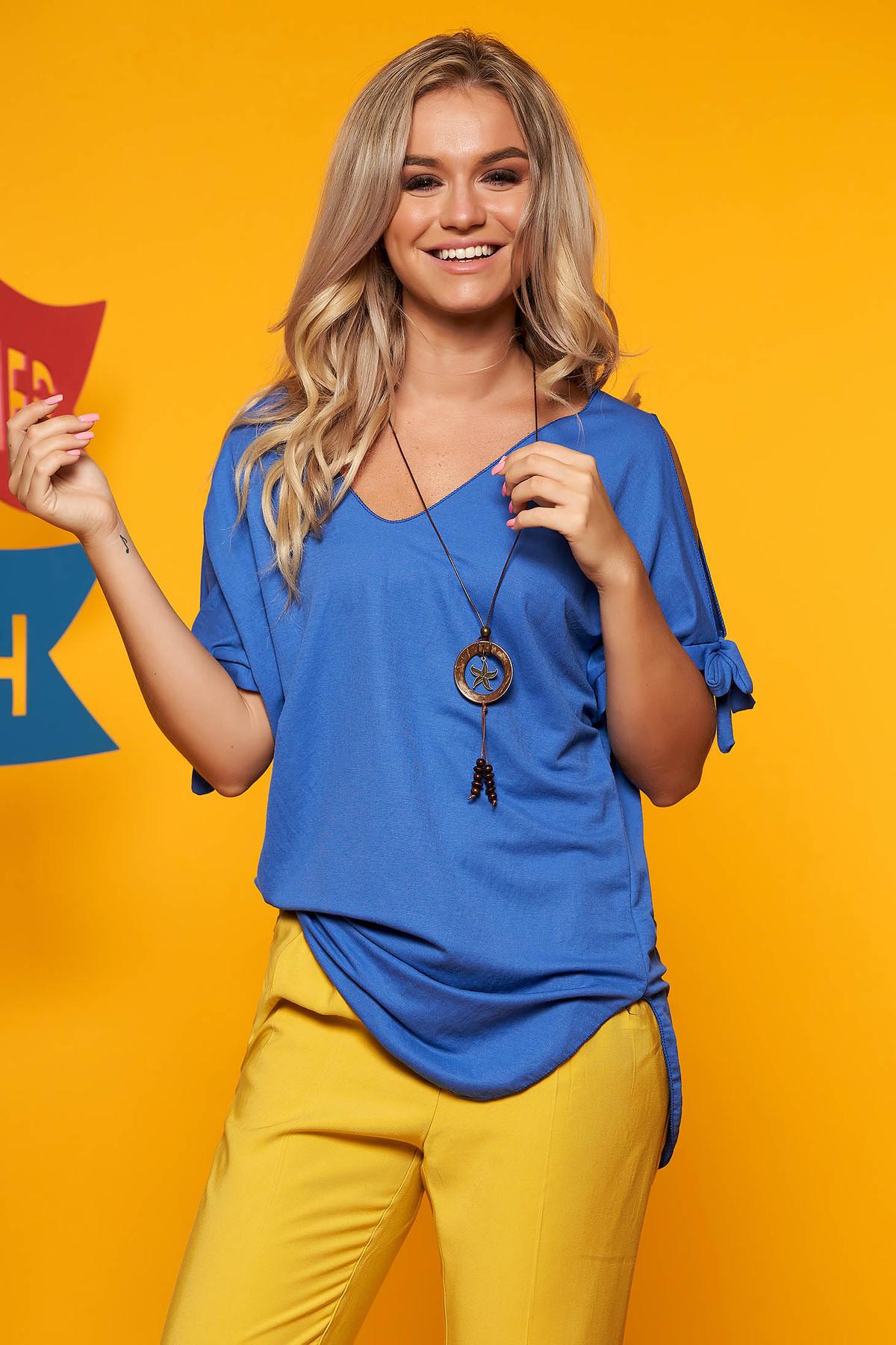 Bluza dama SunShine albastra cu umeri decupati si decolteu in v cu accesoriu inclus