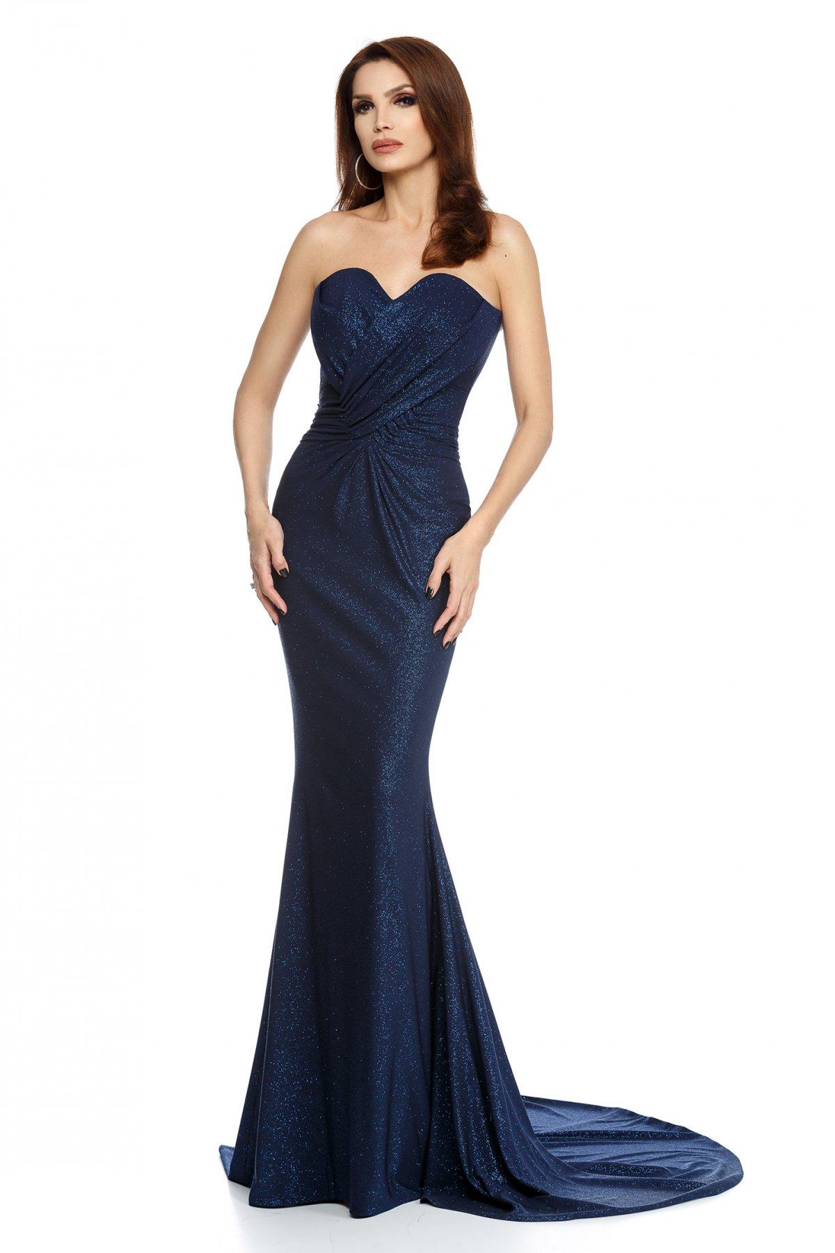 Rochie albastru-inchis lunga tip sirena din lurex fara maneci