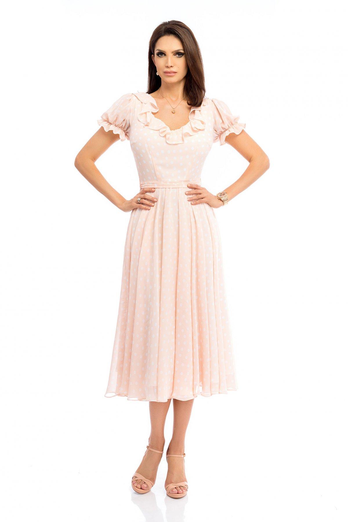 Rochie piersica eleganta midi in clos cu decolteu rotunjit cu volanase