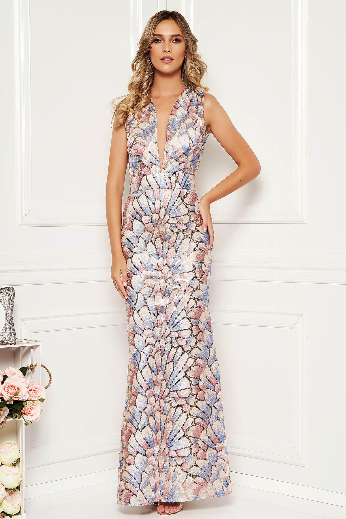Rochie albastra-deschis de ocazie tip sirena din material neelastic captusita pe interior