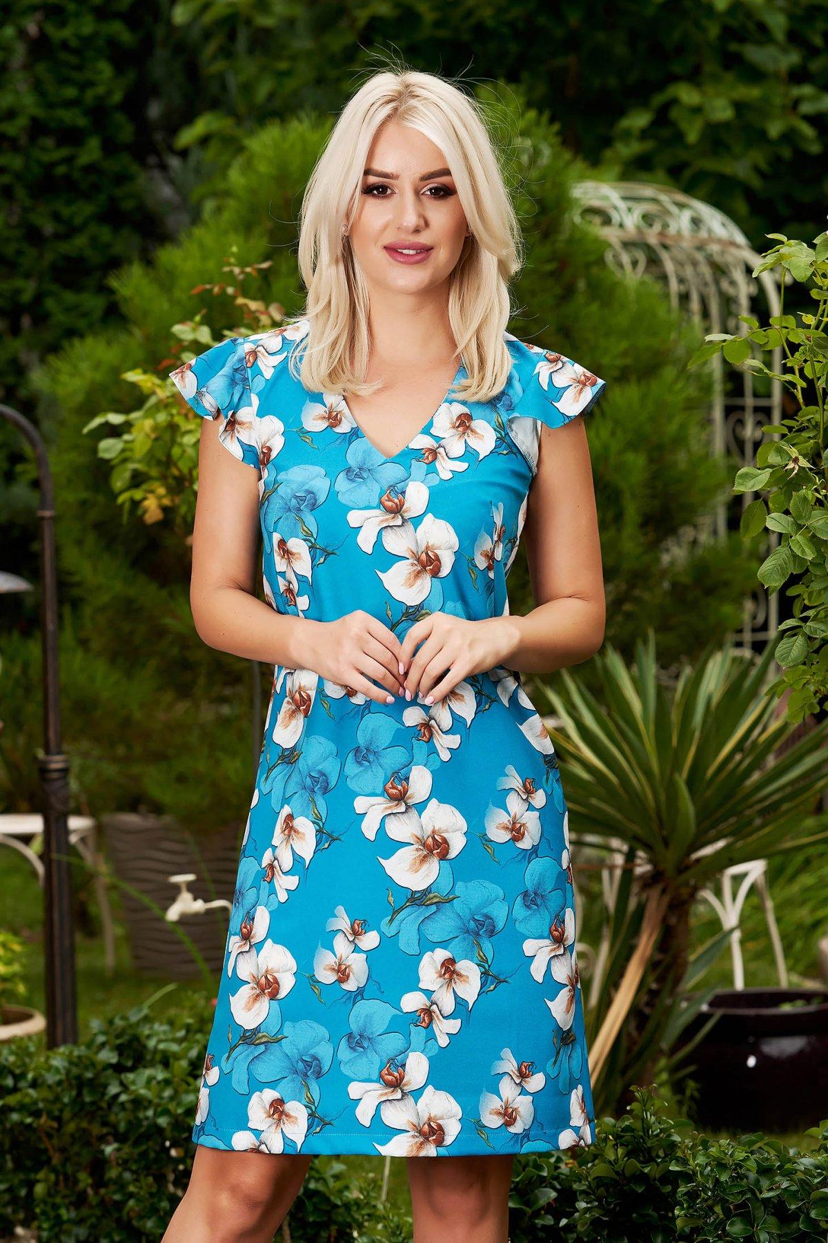 Rochie StarShinerS albastra eleganta scurta din stofa cu decolteu in v si volanase la bretele