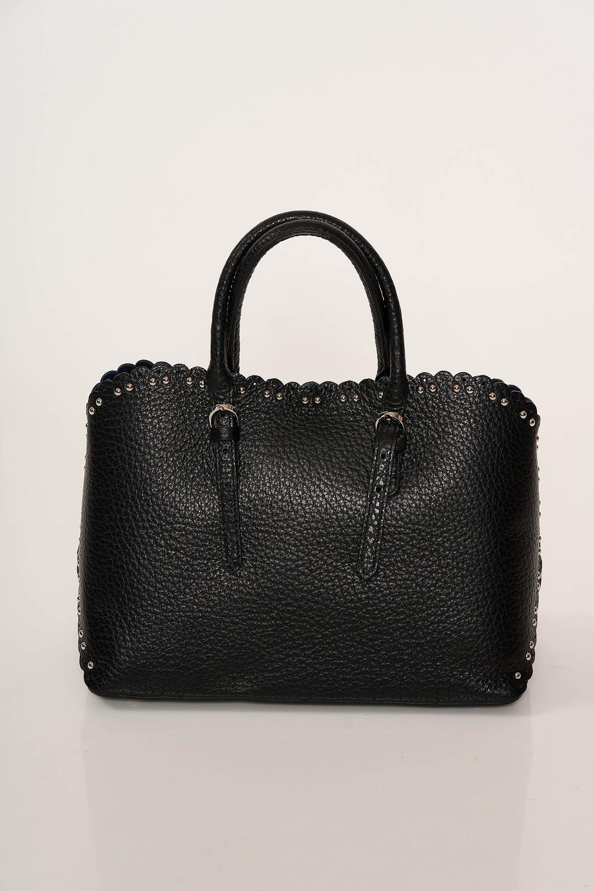 Geanta dama neagra office din piele naturala cu tinte metalice cu manere scurte