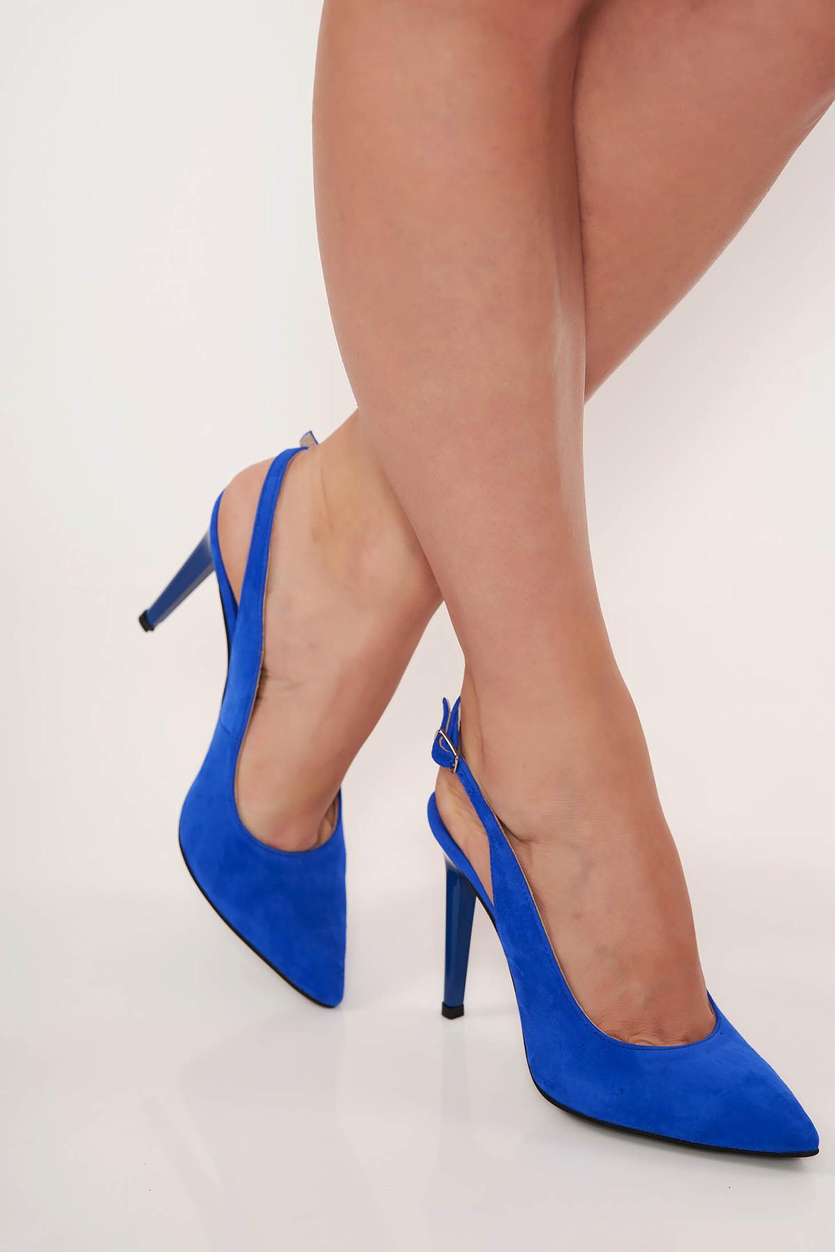 Sandale albastre elegante din piele naturala cu varful usor ascutit calcai decupat