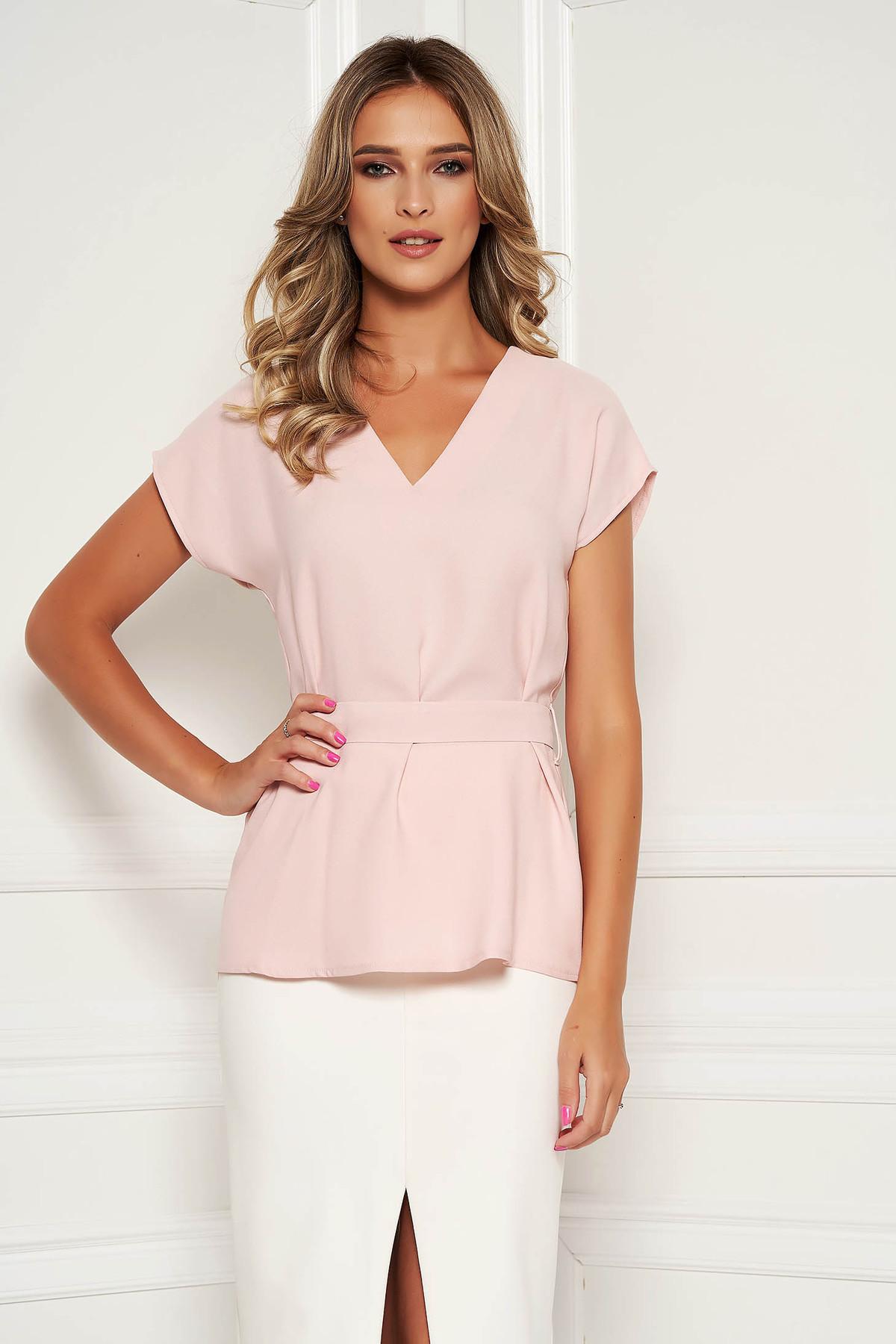 Bluza dama StarShinerS roz prafuit eleganta cu croi larg cordon detasabil si decolteu in v