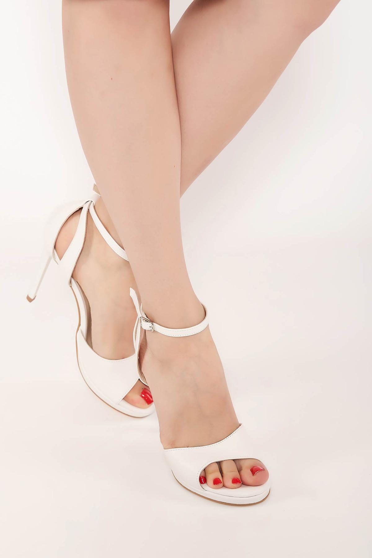 Sandale albe elegante cu toc inalt din piele naturala