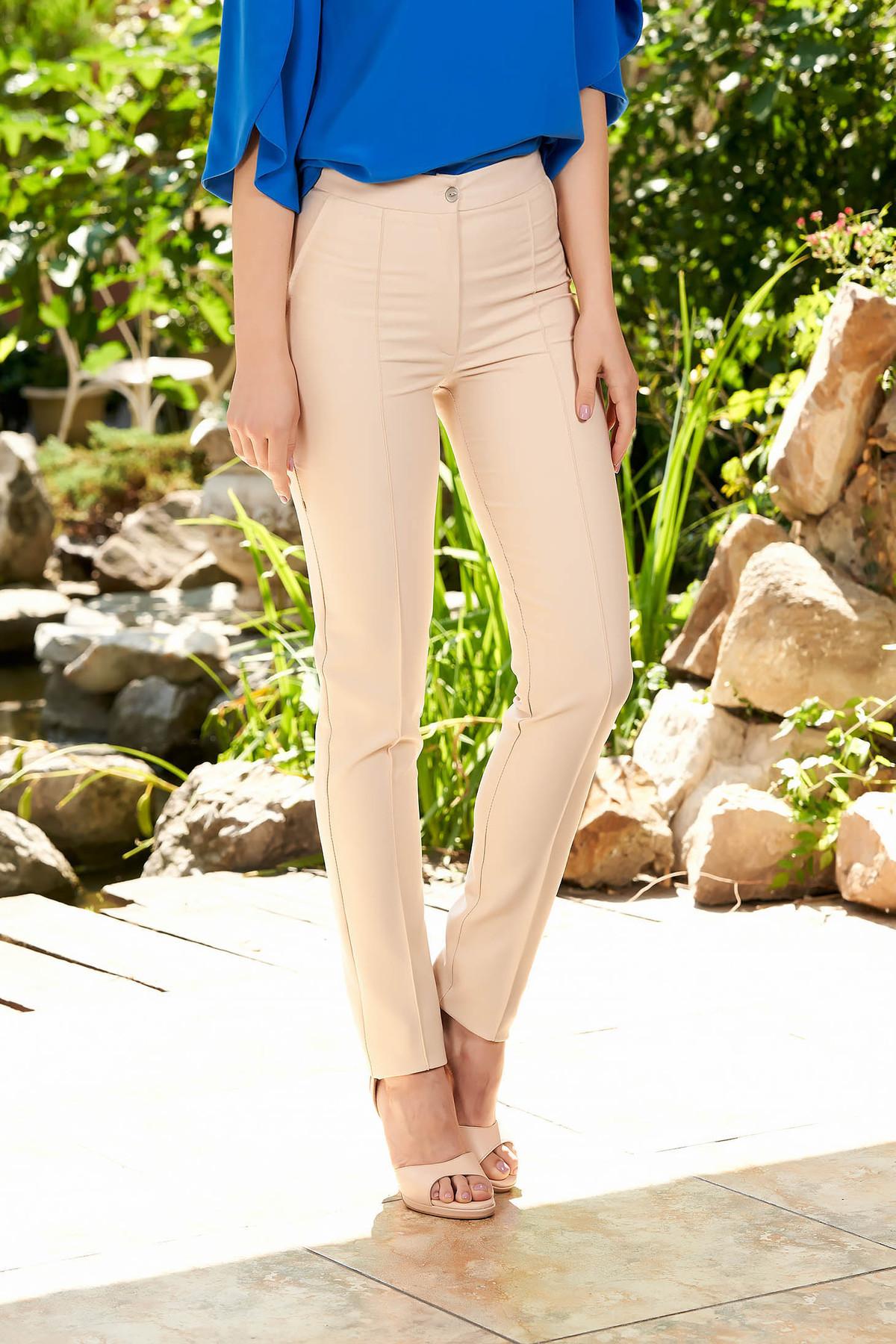 Pantaloni LaDonna crem office conici cu talie medie din material usor elastic cu buzunare false