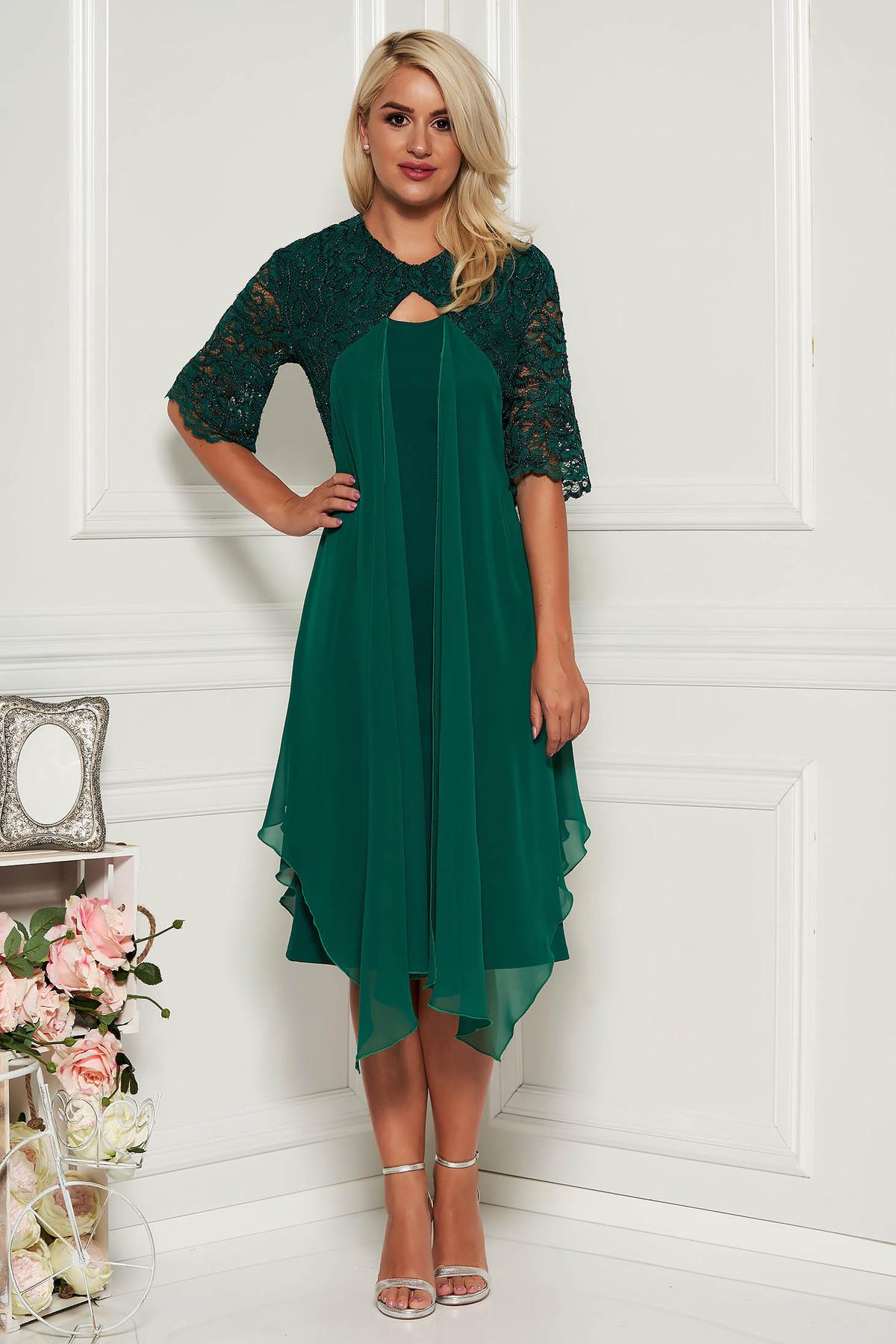 Rochie verde eleganta midi tip creion cu maneci scurte din dantela si suprapunere cu voal