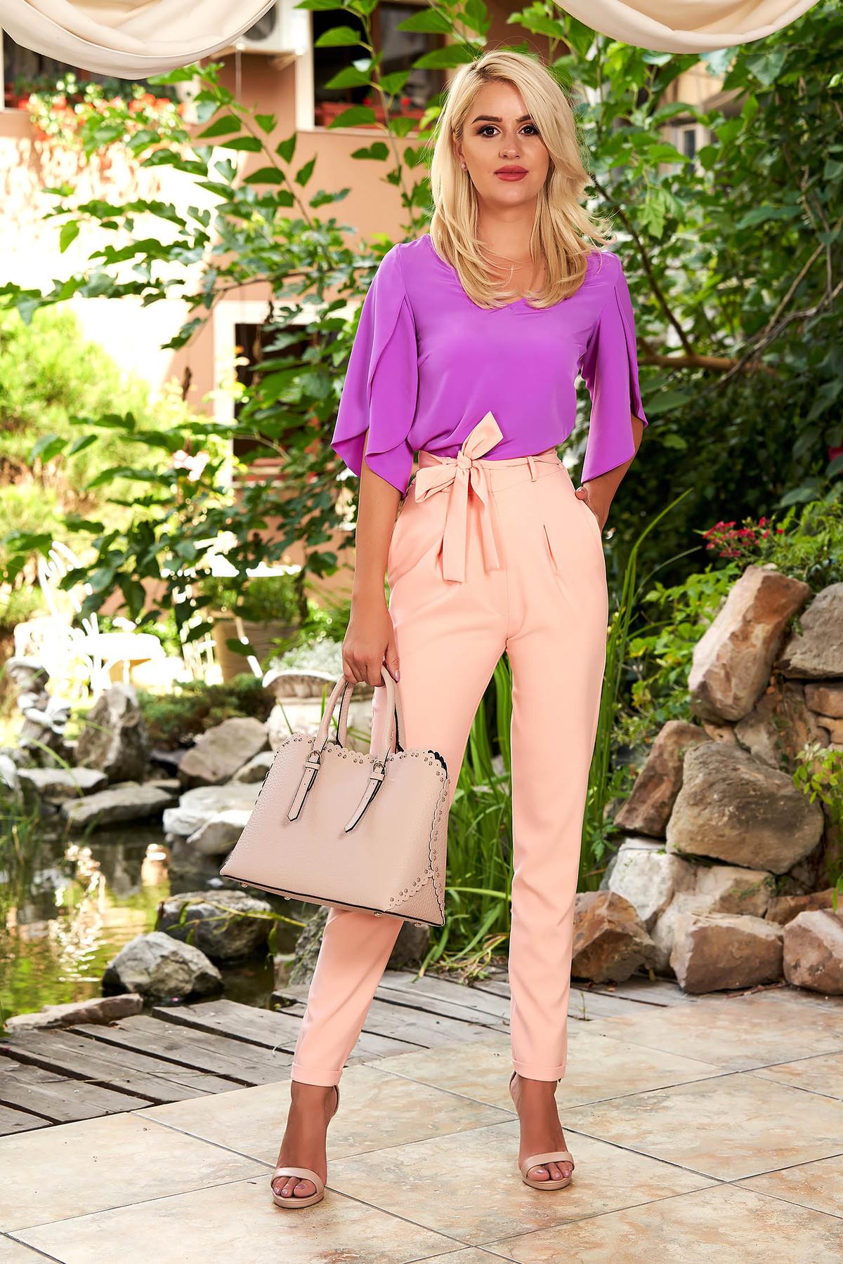 Pantaloni roz deschis eleganti conici cu talie inalta cu buzunare in fata si cordon detasabil