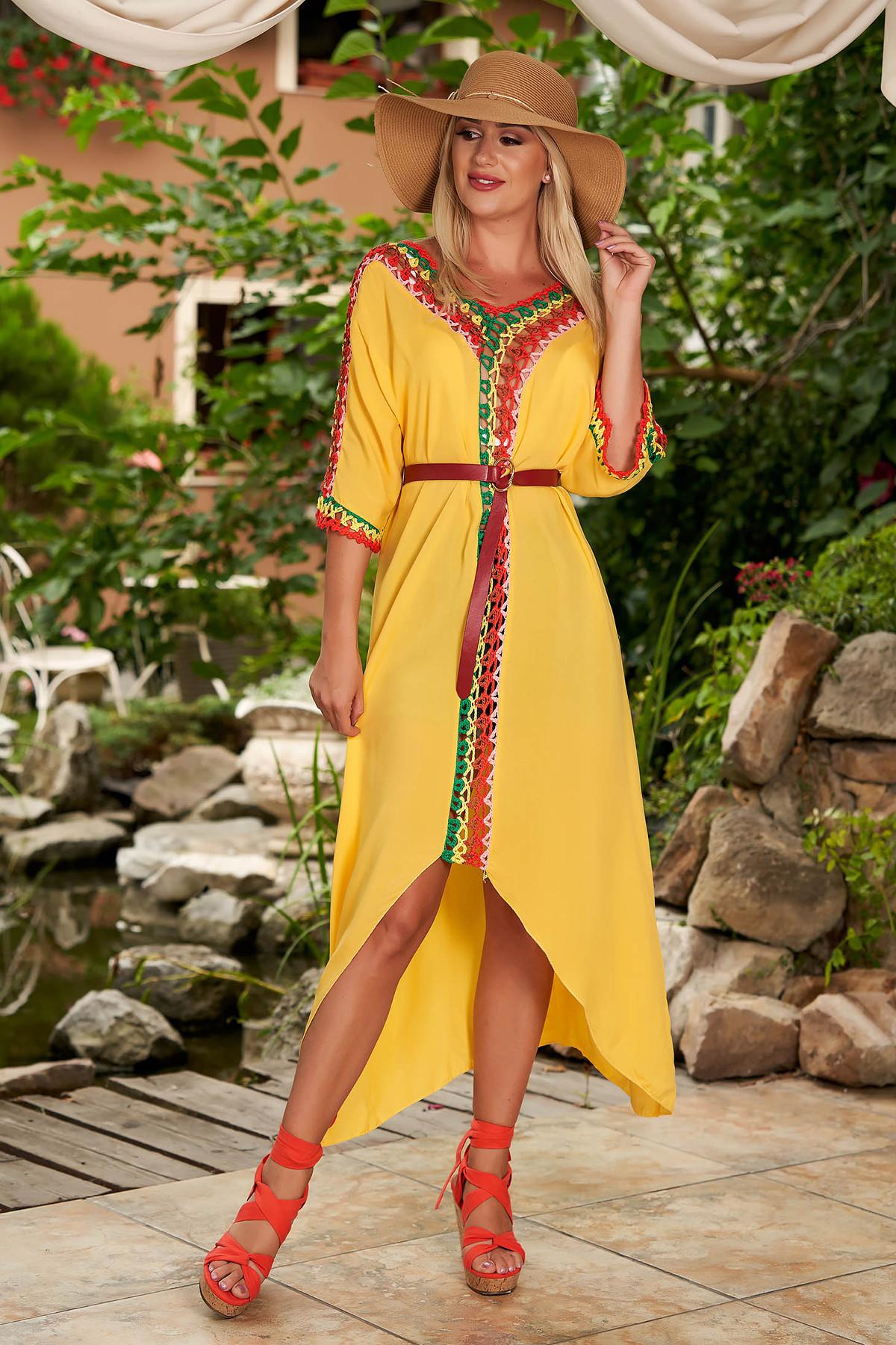 Rochie SunShine galbena casual din bumbac cu croi larg cu maneci trei-sferturi si tricot