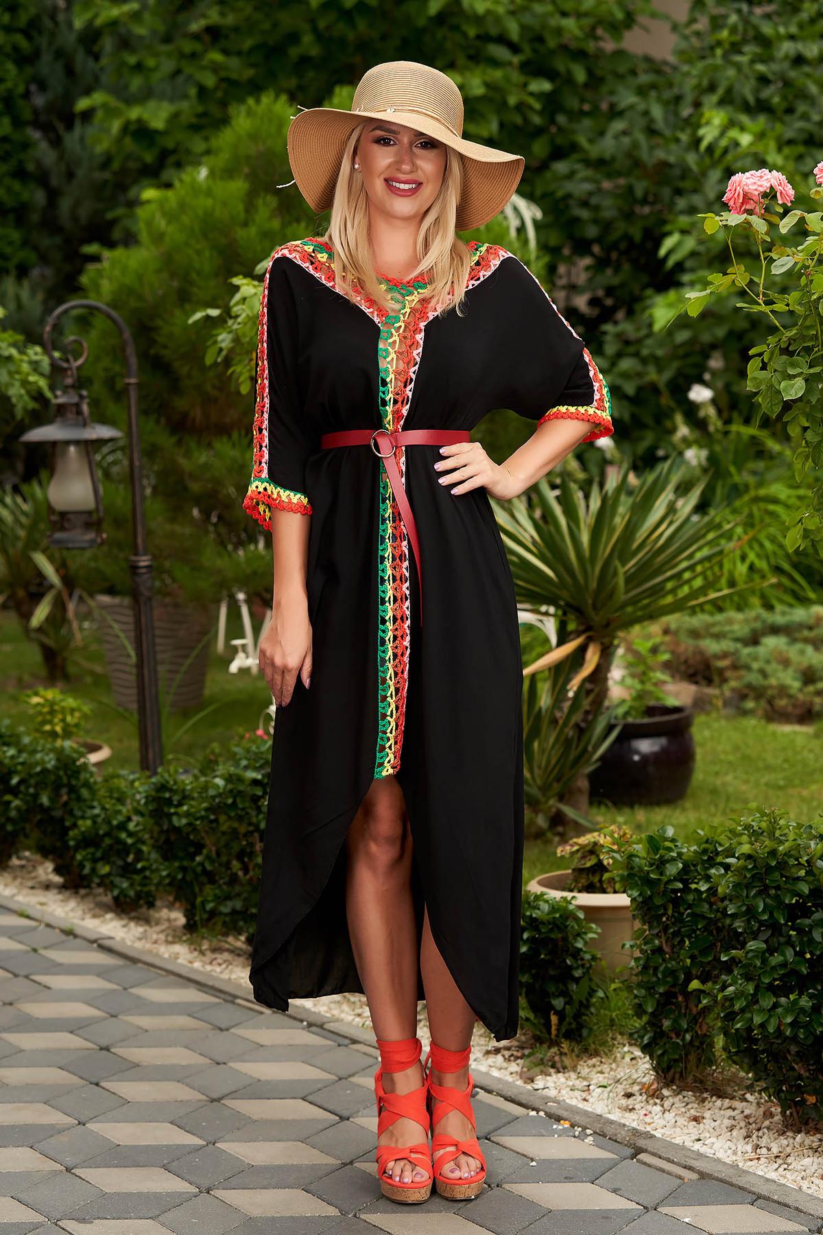 Rochie SunShine neagra casual din bumbac cu croi larg cu maneci trei-sferturi si tricot