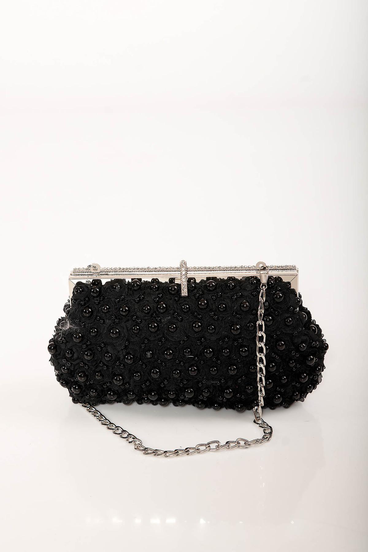 Geanta dama neagra de ocazie cu lantisor detasabil cu aplicatii cu perle si pietre strass