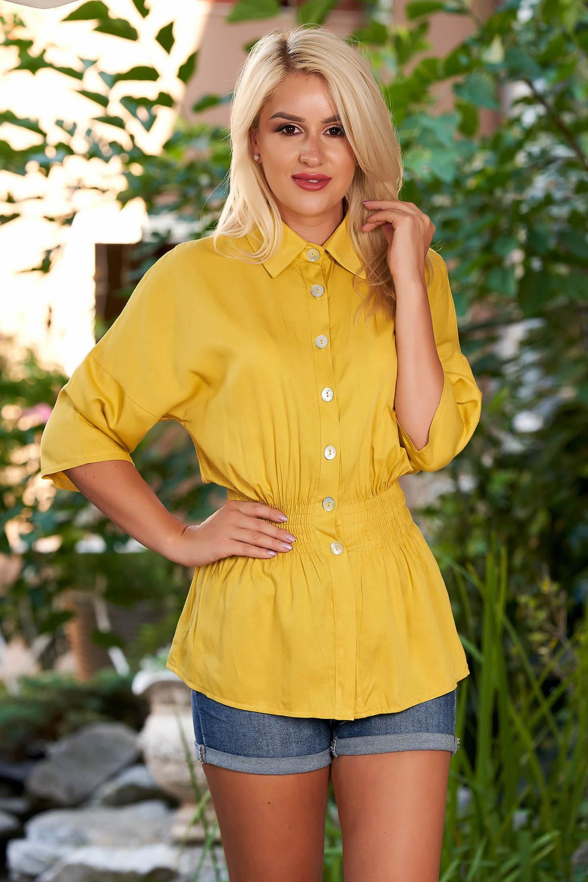 Camasa dama SunShine mustarie casual cu elastic in talie cu maneci trei-sferturi cu guler