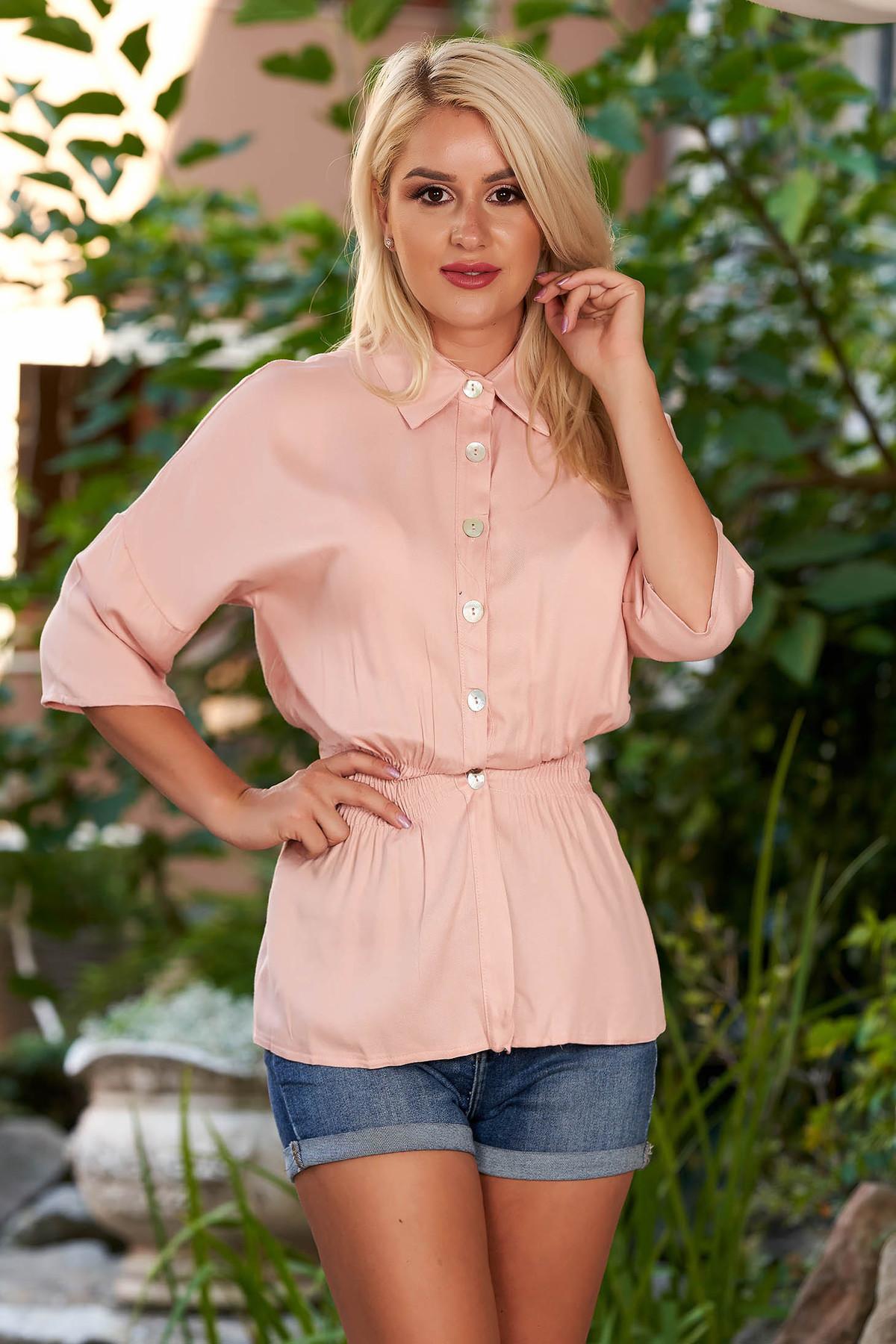 Camasa dama SunShine roz prafuit casual cu elastic in talie cu maneci trei-sferturi cu guler