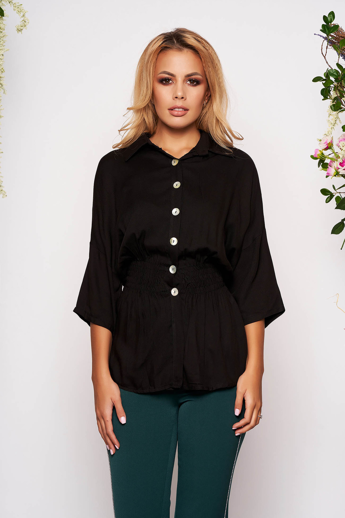 Camasa dama SunShine neagra casual cu elastic in talie cu maneci trei-sferturi cu guler