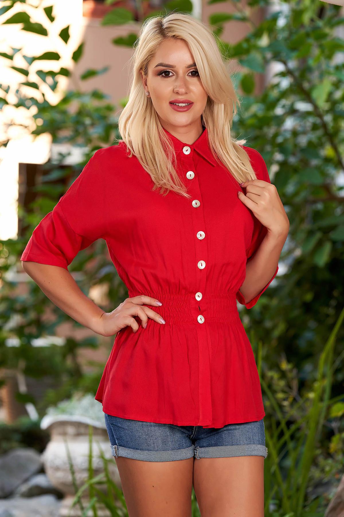 Camasa dama SunShine rosie casual cu elastic in talie cu maneci trei-sferturi cu guler