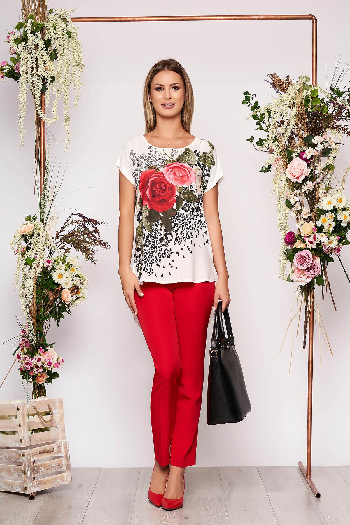 Compleu rosu elegant din 2 piese cu pantalon din bumbac cu imprimeu floral