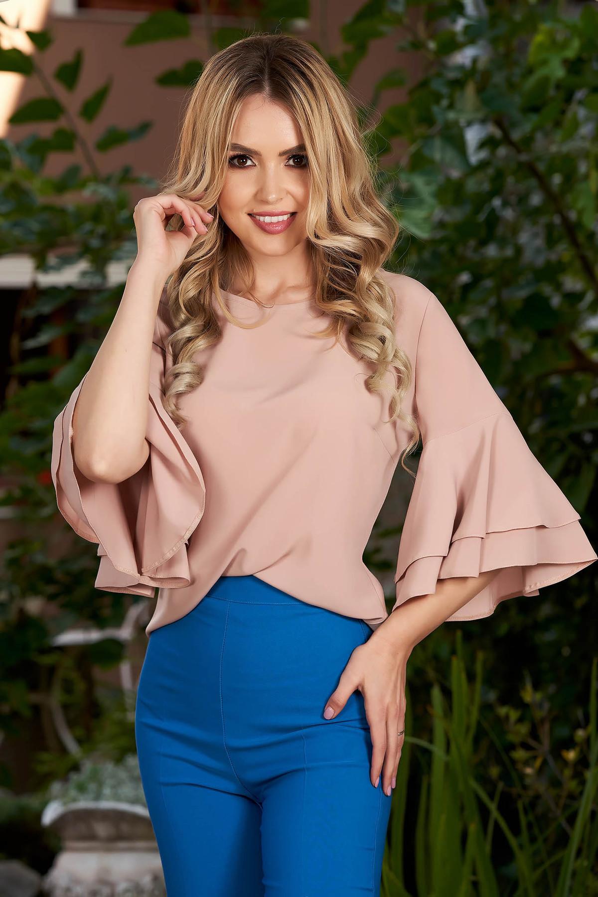 Bluza dama LaDonna crem eleganta din voal cu croi larg cu maneci clopot cu decolteu rotunjit