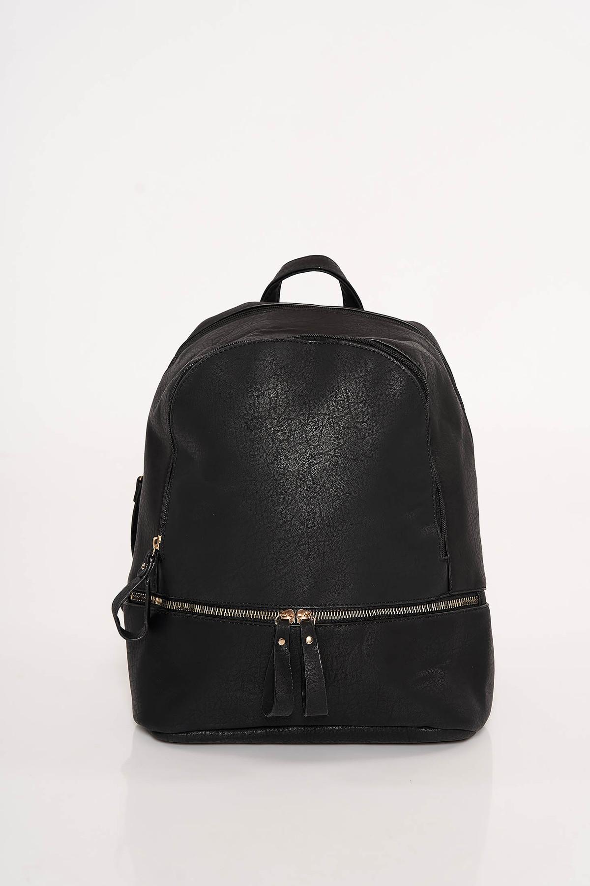 Rucsac negru casual din piele ecologica cu bretele ajustabile accesorizat cu fermoar