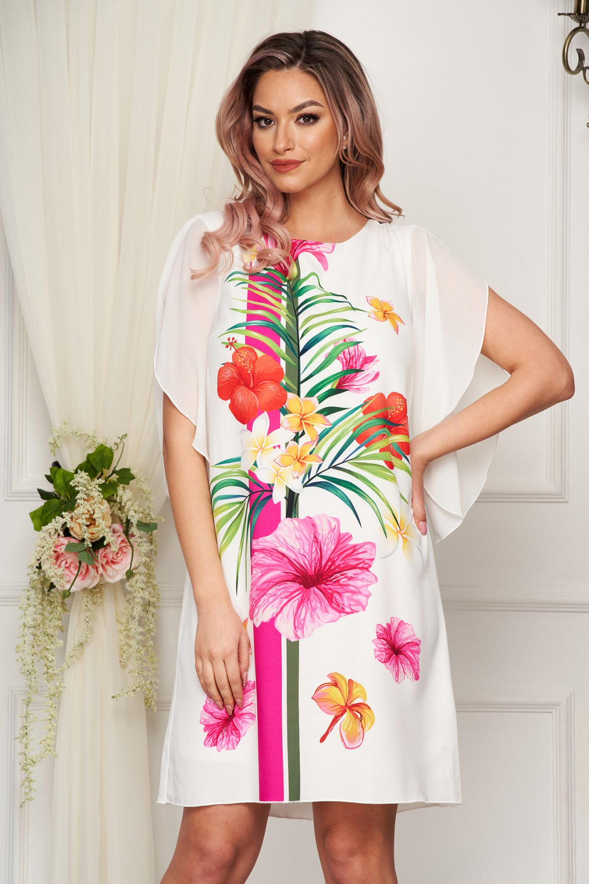 Rochie StarShinerS ivoire eleganta cu croi larg cu maneci din voal din stofa subtire usor elastica cu imprimeuri florale