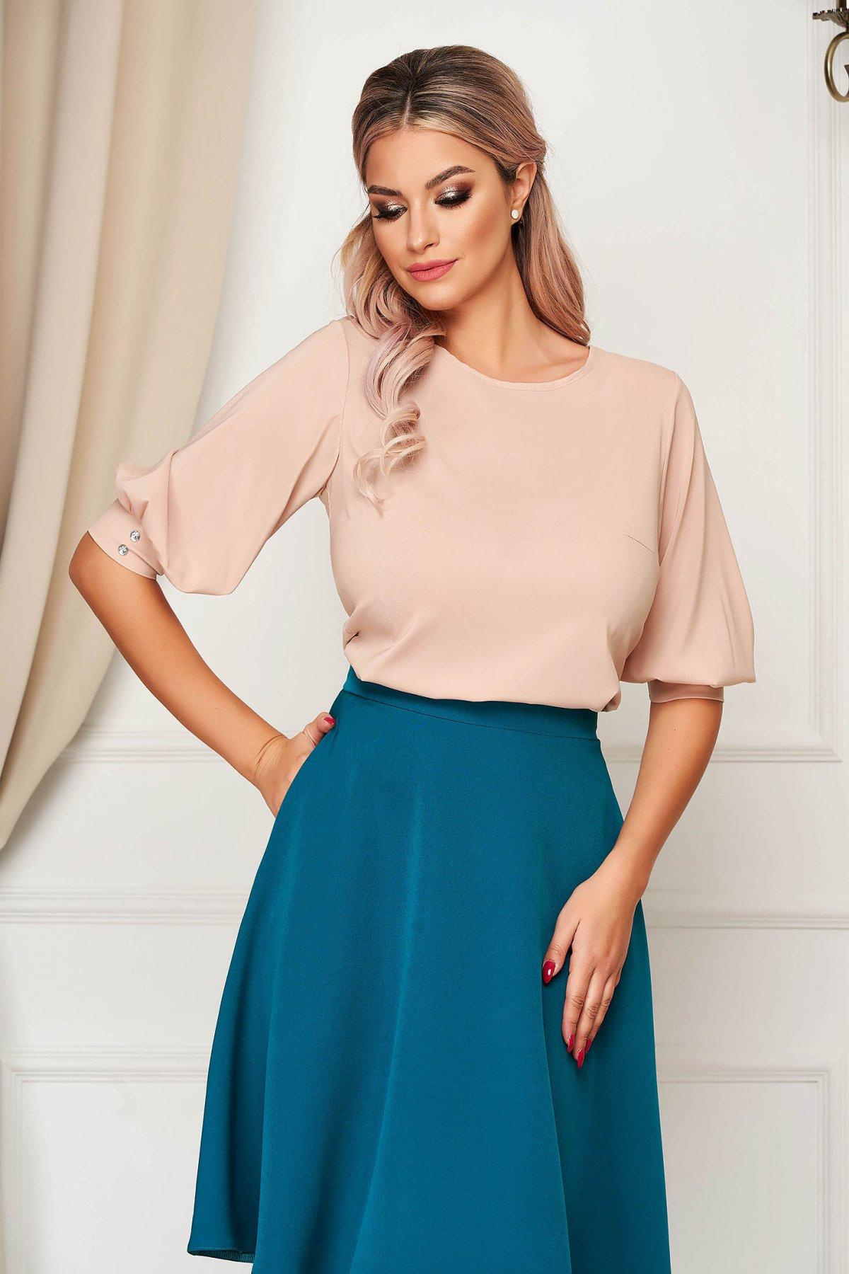 Bluza dama StarShinerS crem office din material vaporos cu croi larg si maneci trei-sferturi